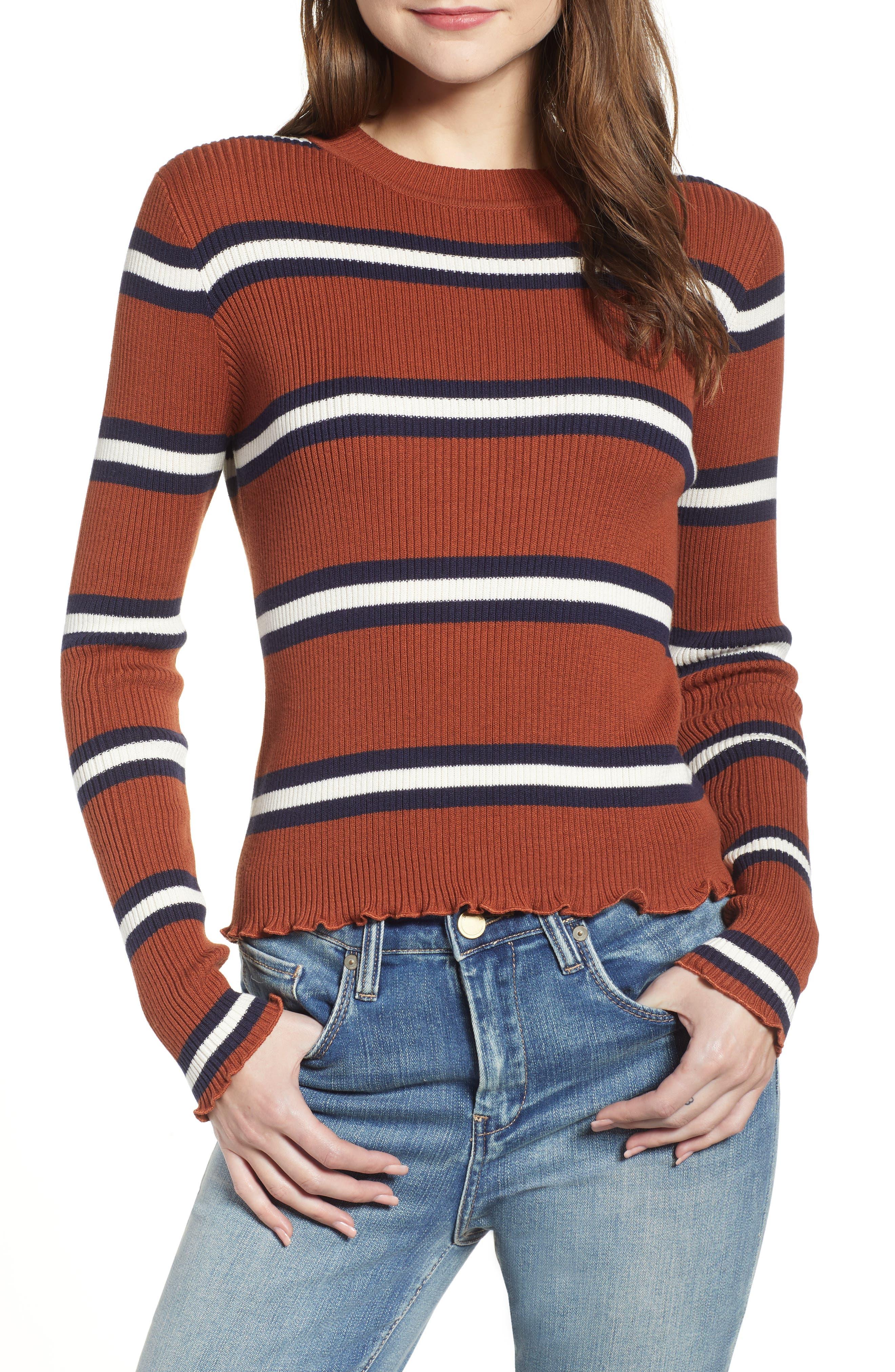 Ribbed Lettuce Edge Stripe Sweater,                             Main thumbnail 1, color,                             RUST SEQUOIA CLEO STRIPE