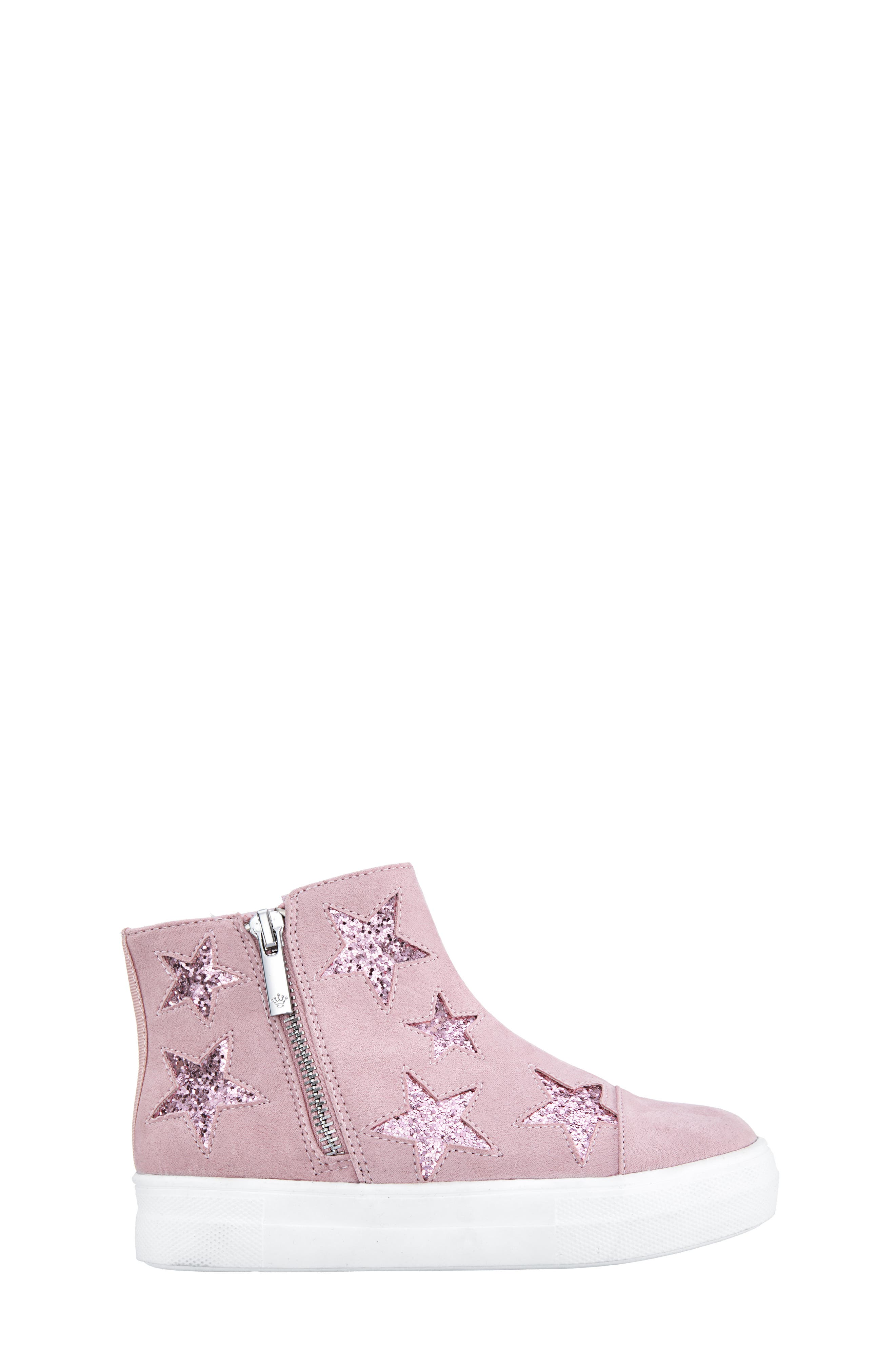 Jacqui Glitter High Top Sneaker,                             Alternate thumbnail 3, color,                             BLUSH MICRO SUEDE