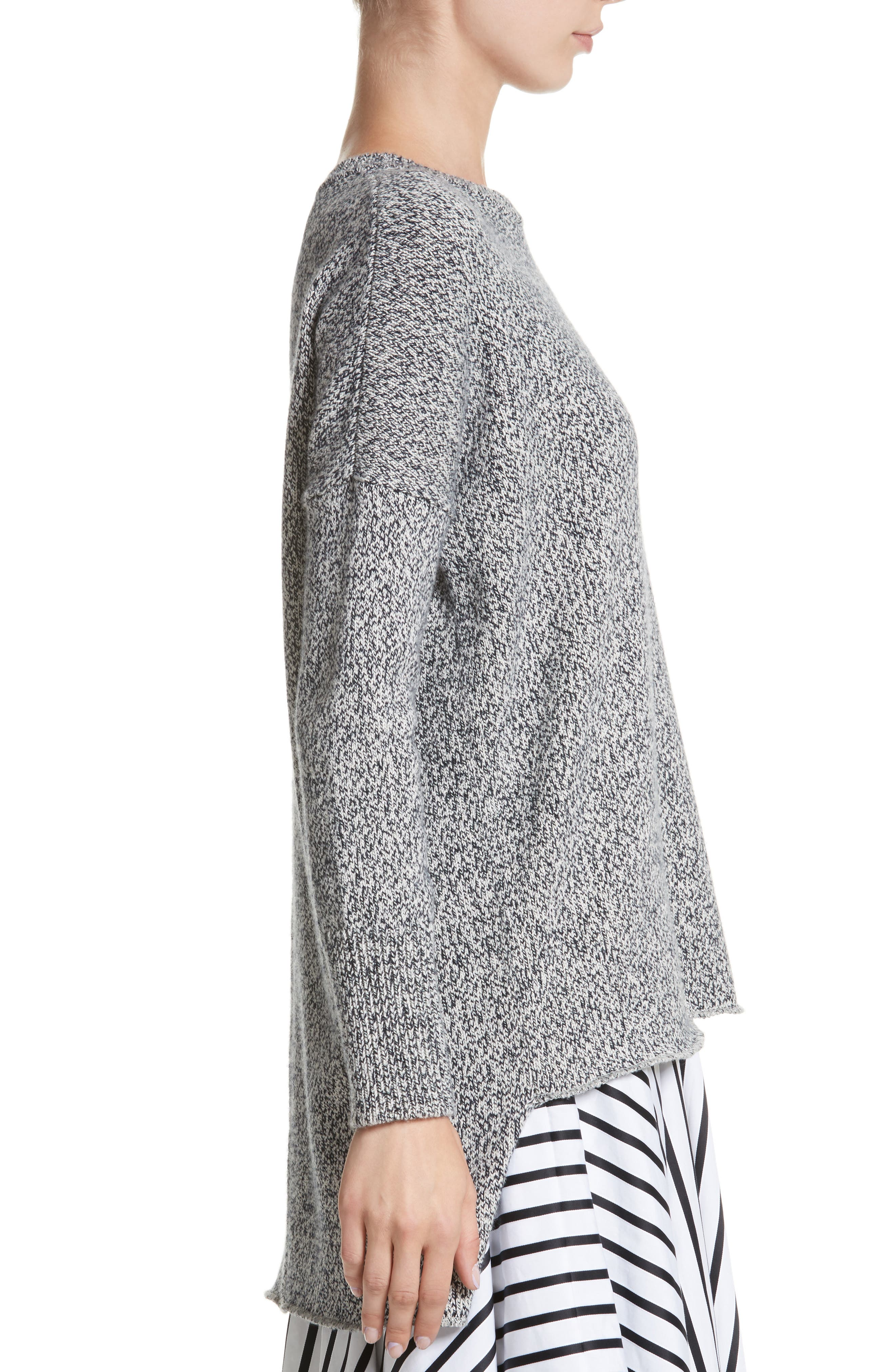 Marled Cotton, Cashmere & Silk Sweater,                             Alternate thumbnail 3, color,                             020