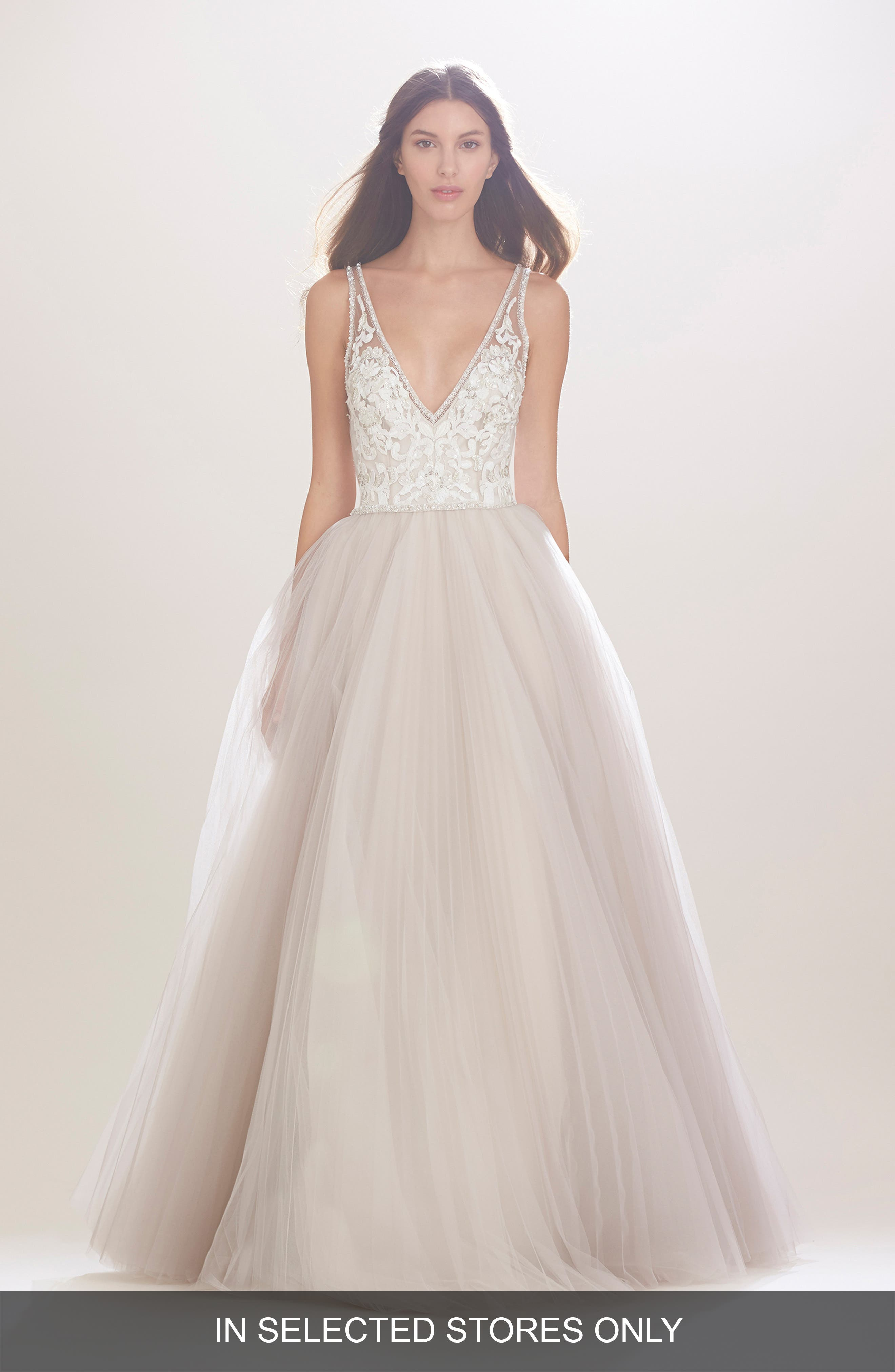 Mercedes V-Neck Lace & Tulle Gown,                             Alternate thumbnail 2, color,                             TEAROSE