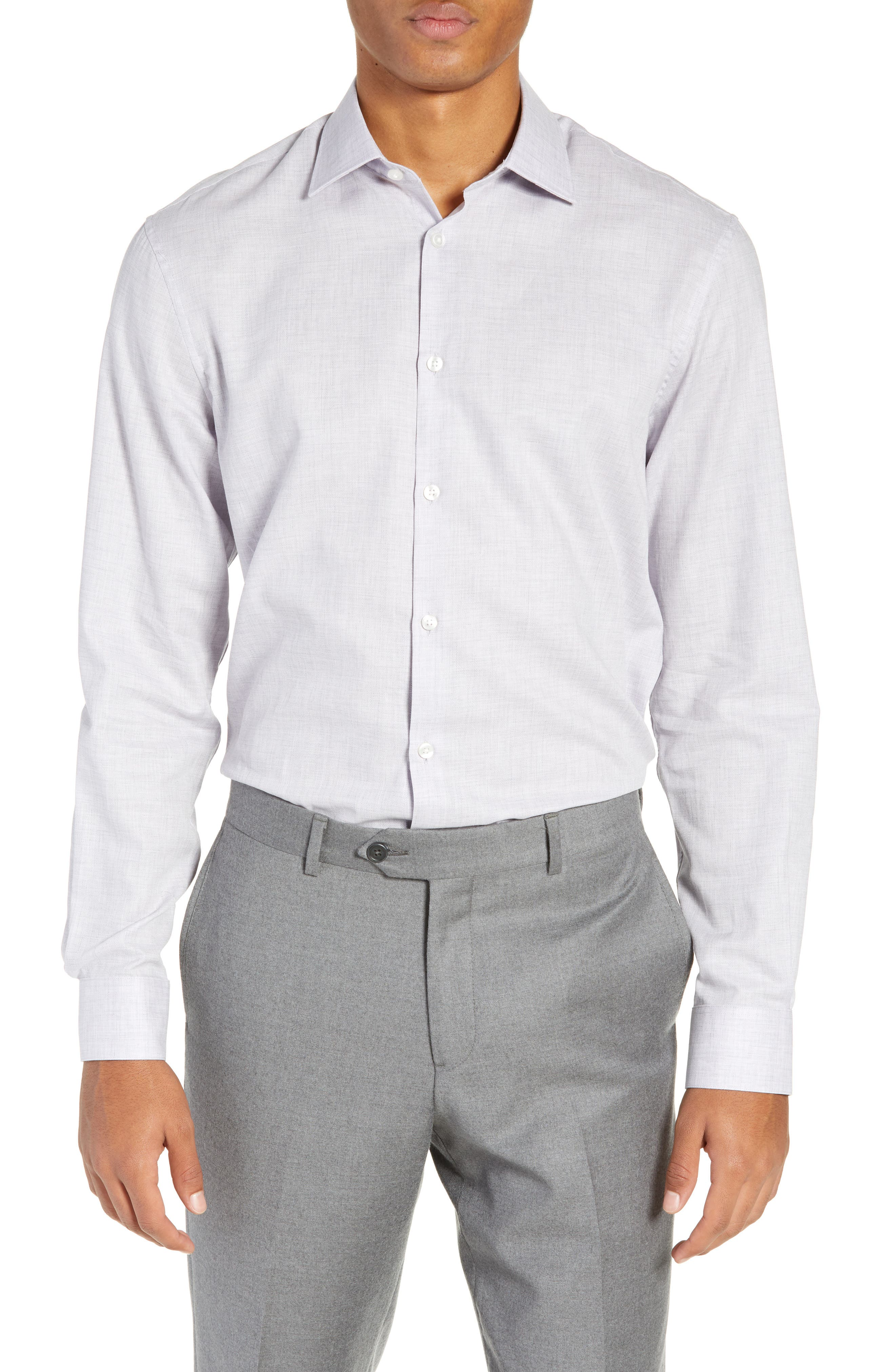 Regular Fit Solid Dress Shirt,                             Main thumbnail 1, color,                             HYDRANGEA