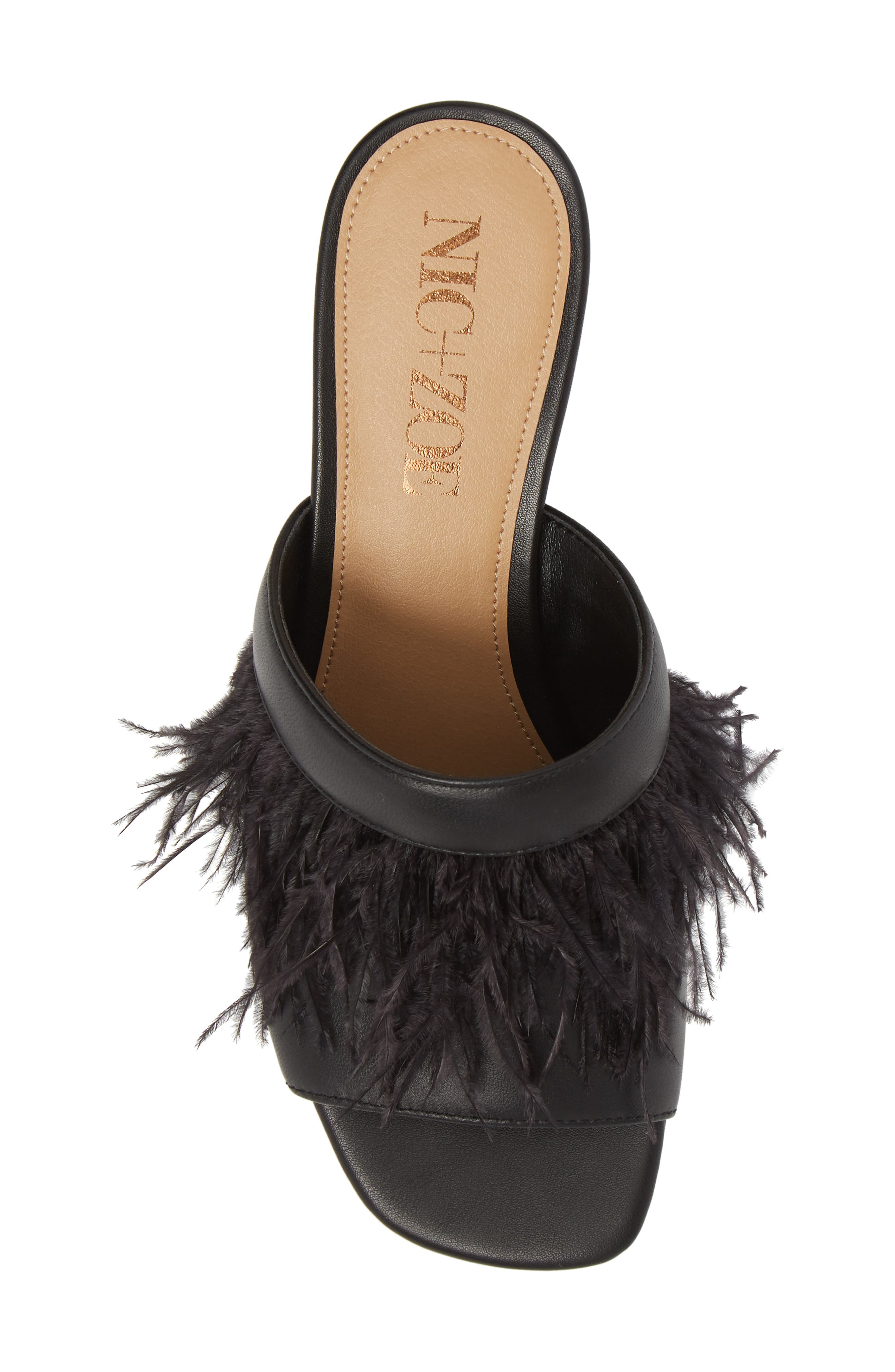 NIC + ZOE Feather Mule,                             Alternate thumbnail 5, color,                             BLACK LEATHER