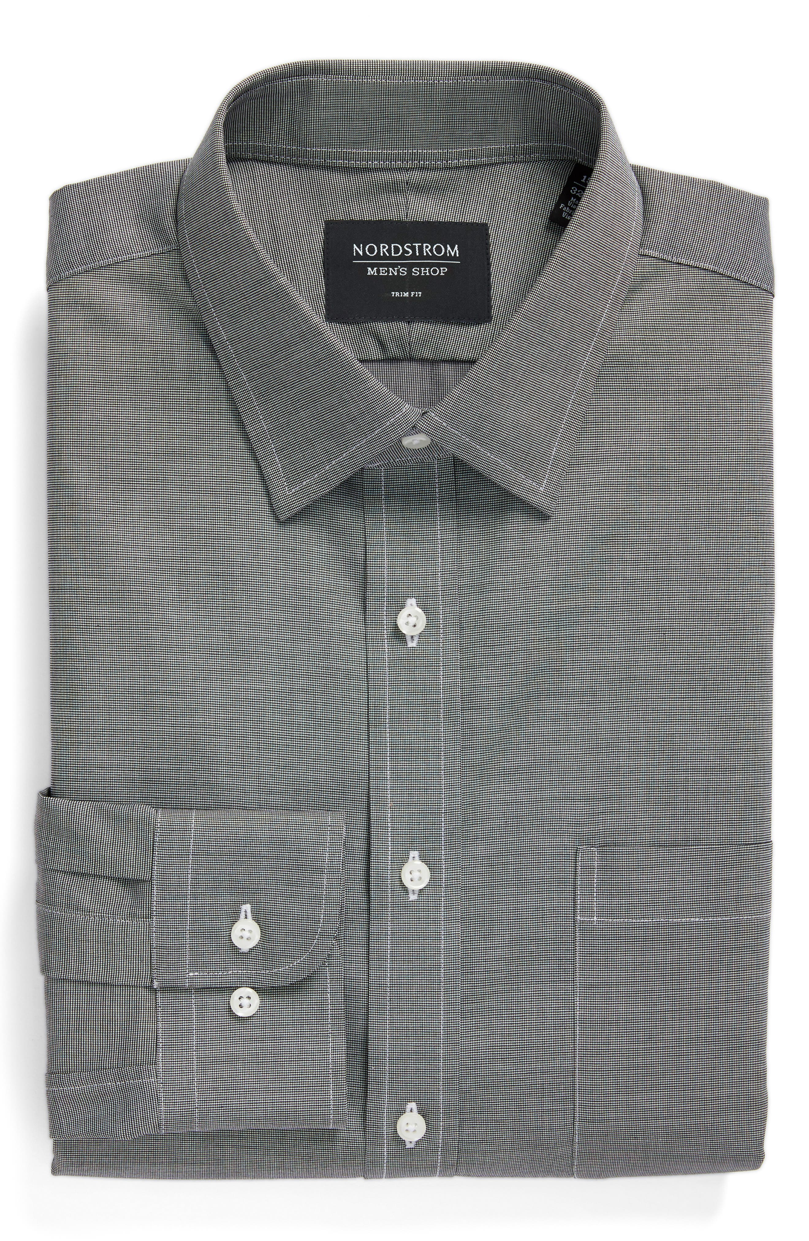 Trim Fit Non-Iron Dress Shirt,                             Alternate thumbnail 5, color,                             BLACK ROCK