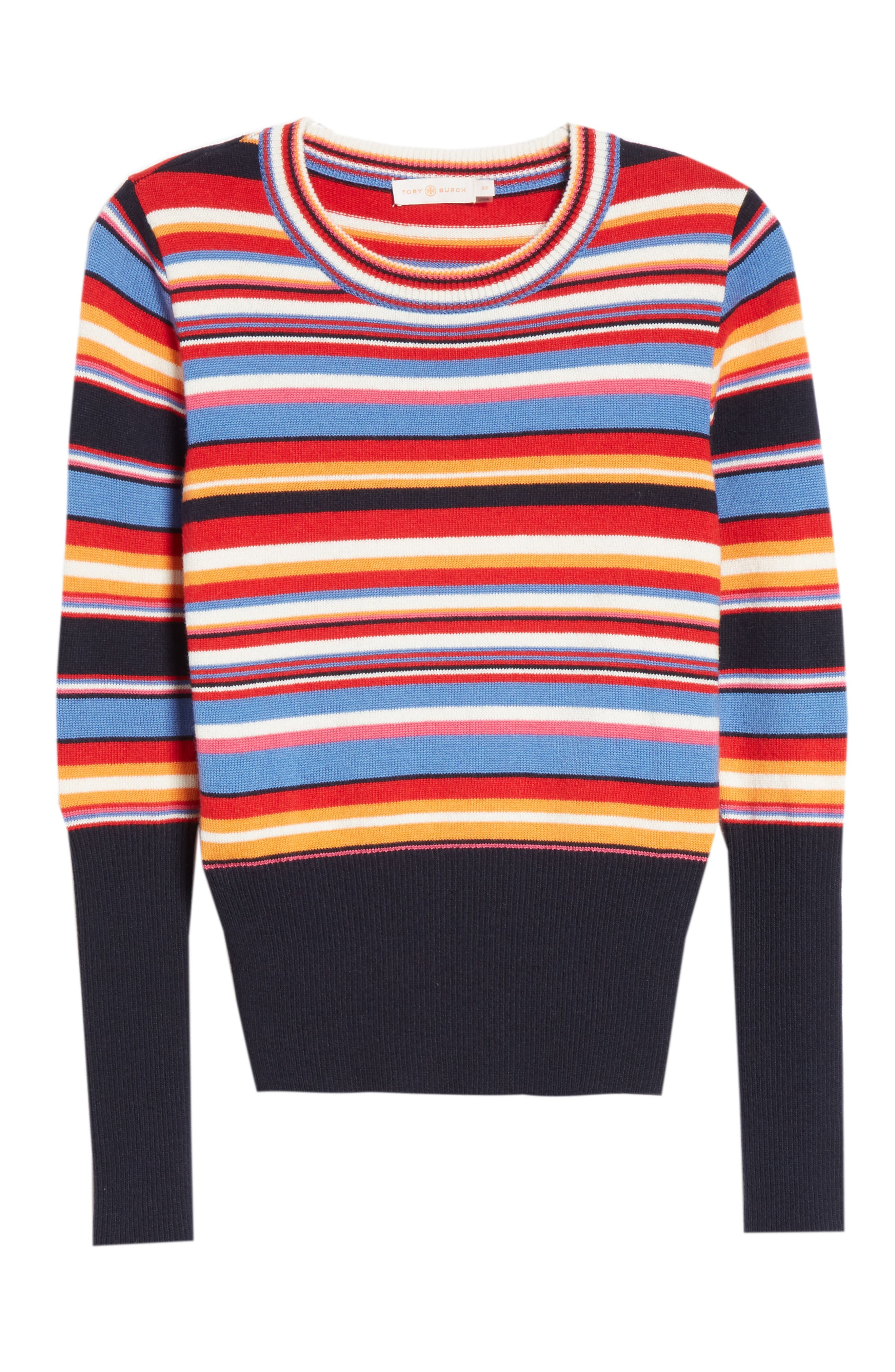 Kit Stripe Scoop Neck Sweater,                             Alternate thumbnail 6, color,                             TORY NAY