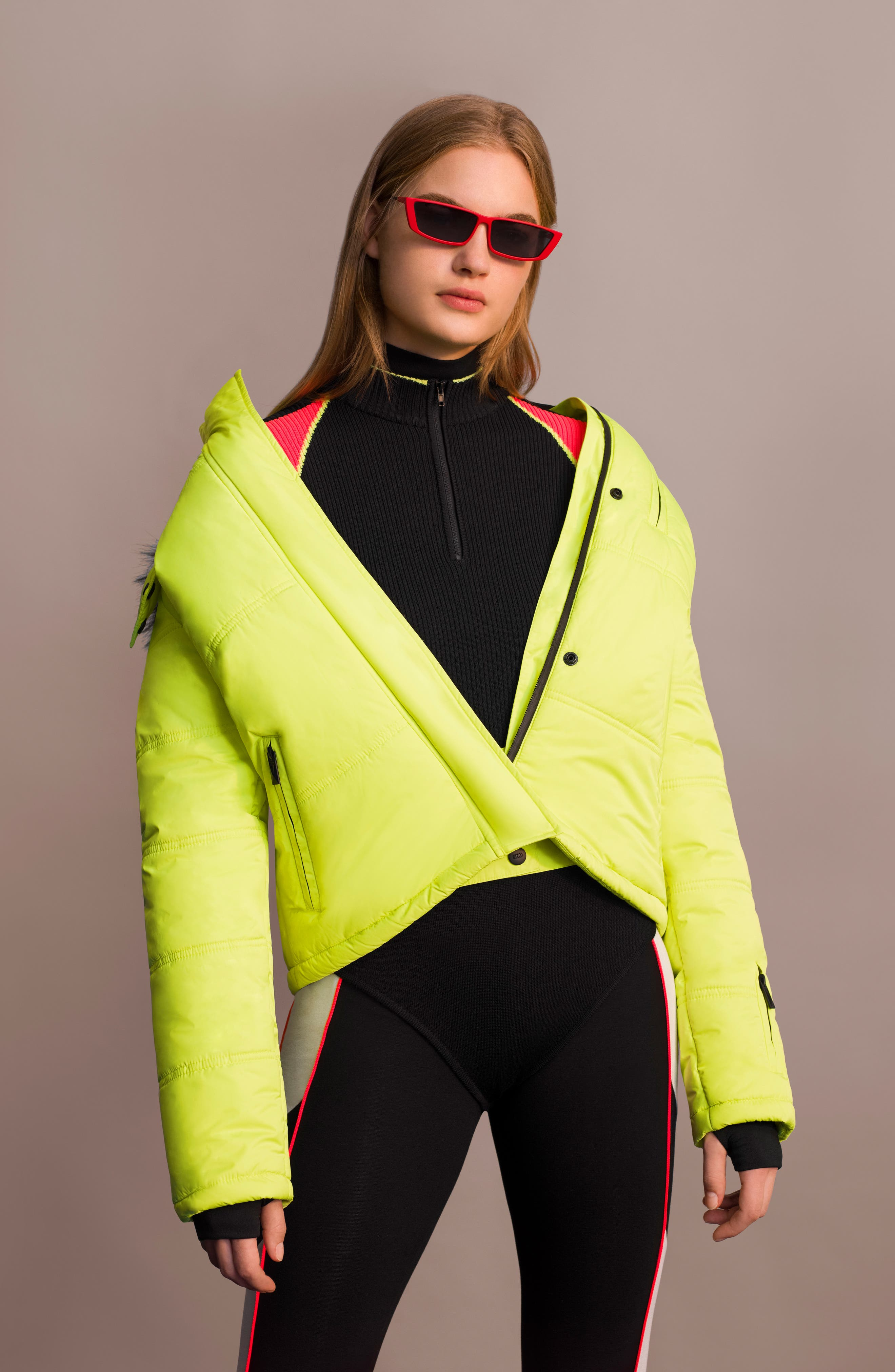 SNO Rio Faux Fur Hood Neon Puffer Jacket,                             Alternate thumbnail 15, color,
