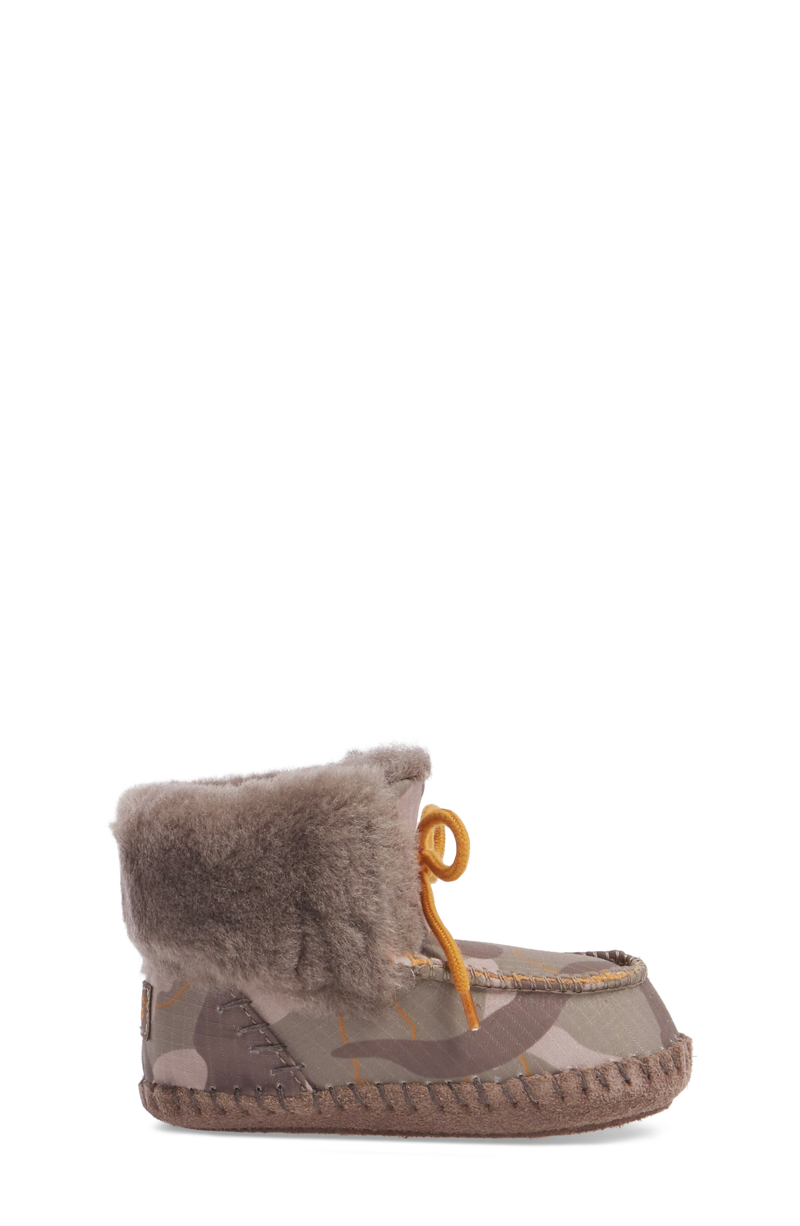 Sparrow Camo Genuine Shearling Moccasin Bootie,                             Alternate thumbnail 3, color,                             020