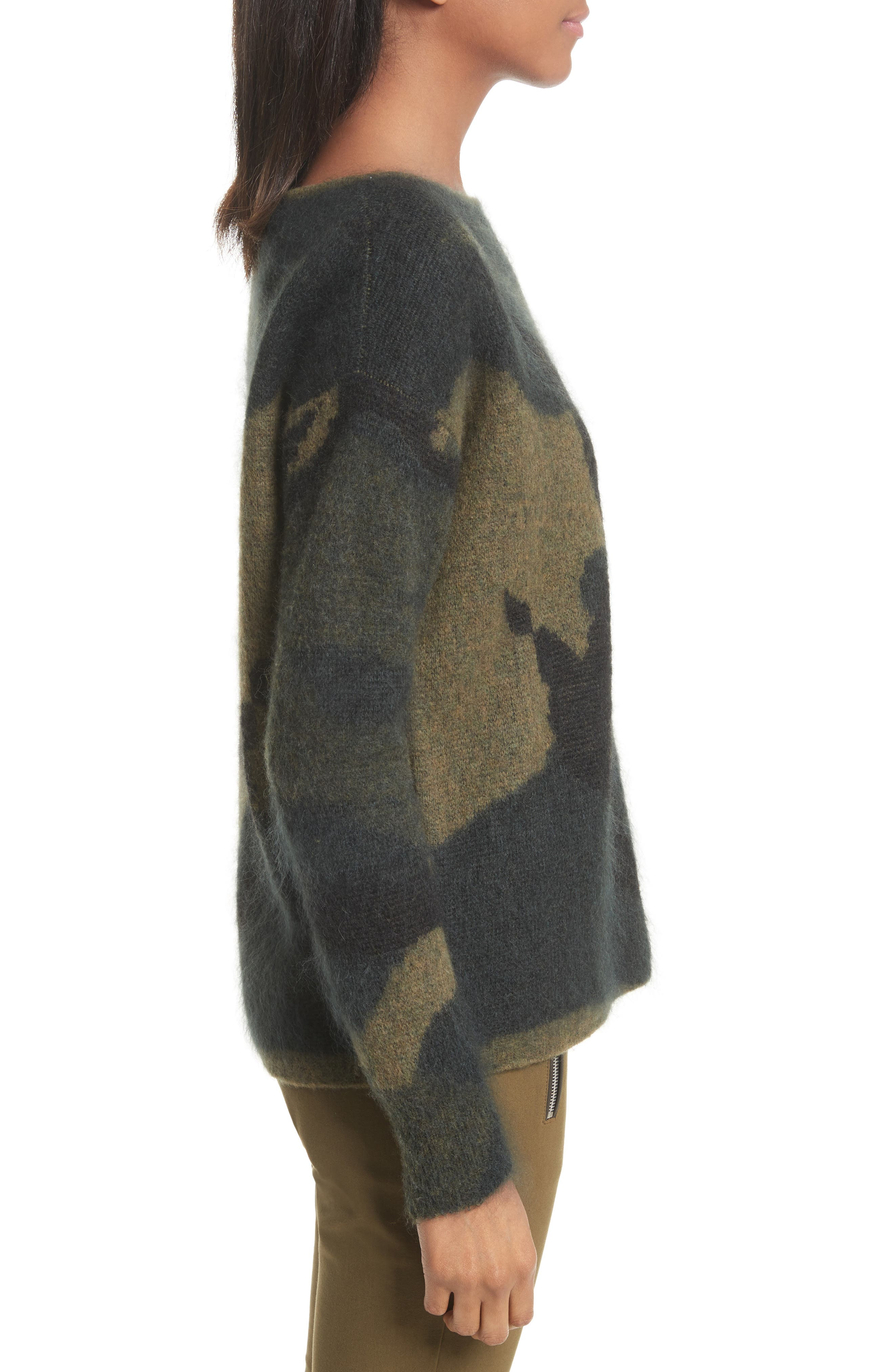 Sinclair Camouflage Jacquard Sweater,                             Alternate thumbnail 3, color,                             319