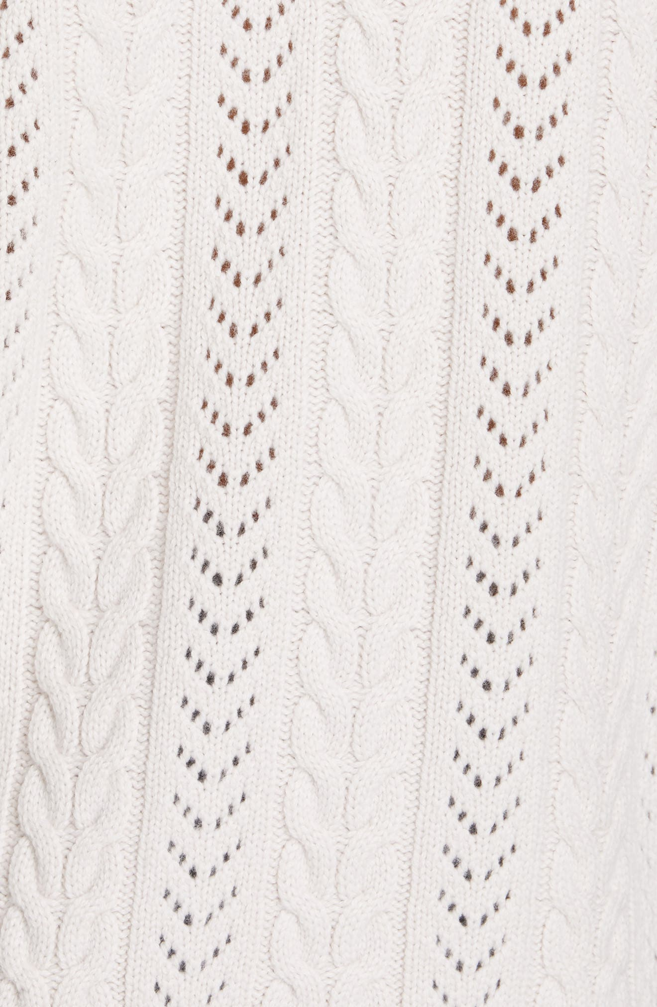 Tinala Faux Pearl Detail Cable Sweater,                             Alternate thumbnail 5, color,                             ANTIQUE WHITE