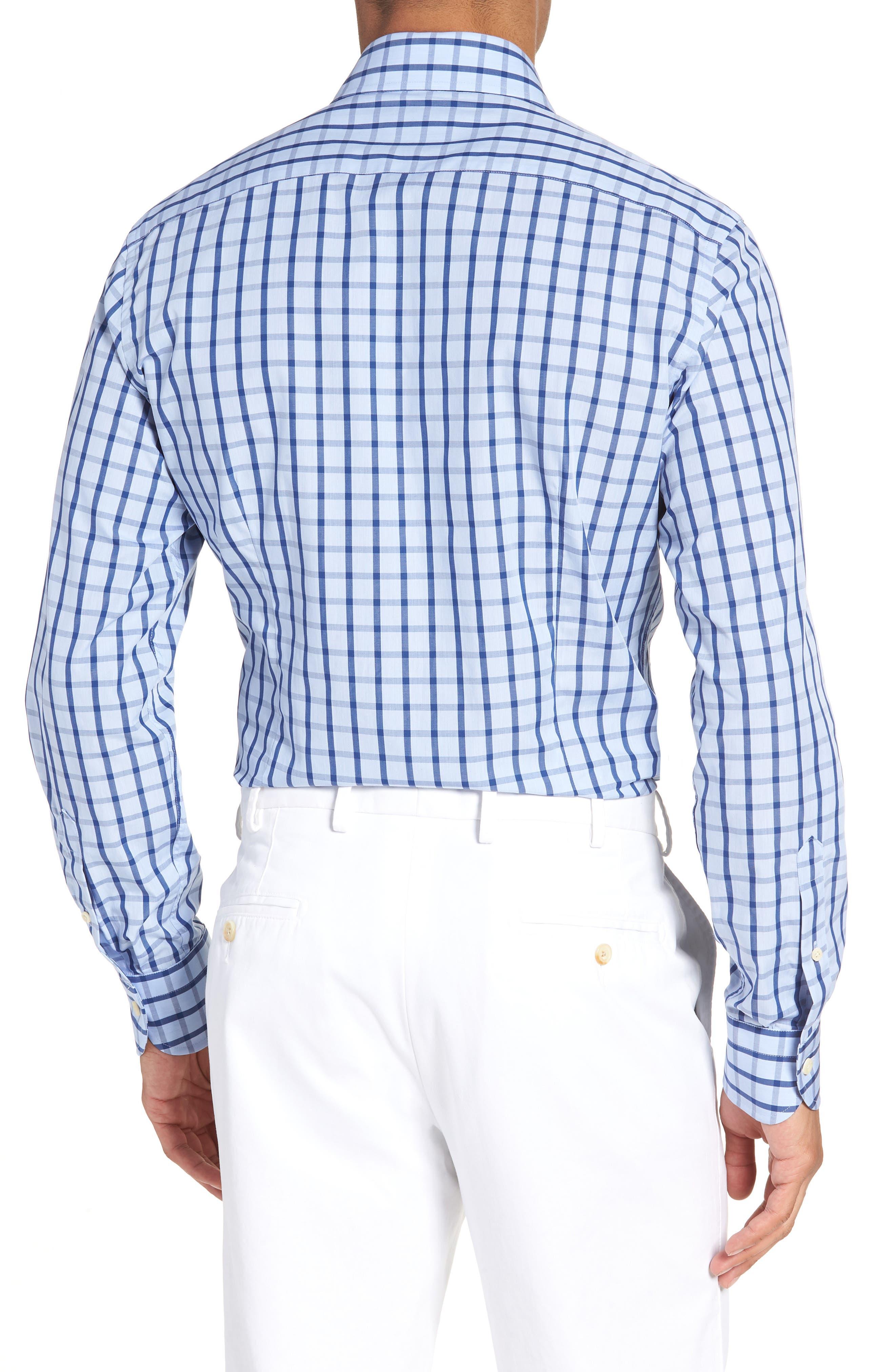 Hayden Trim Fit Windowpane Dress Shirt,                             Alternate thumbnail 7, color,