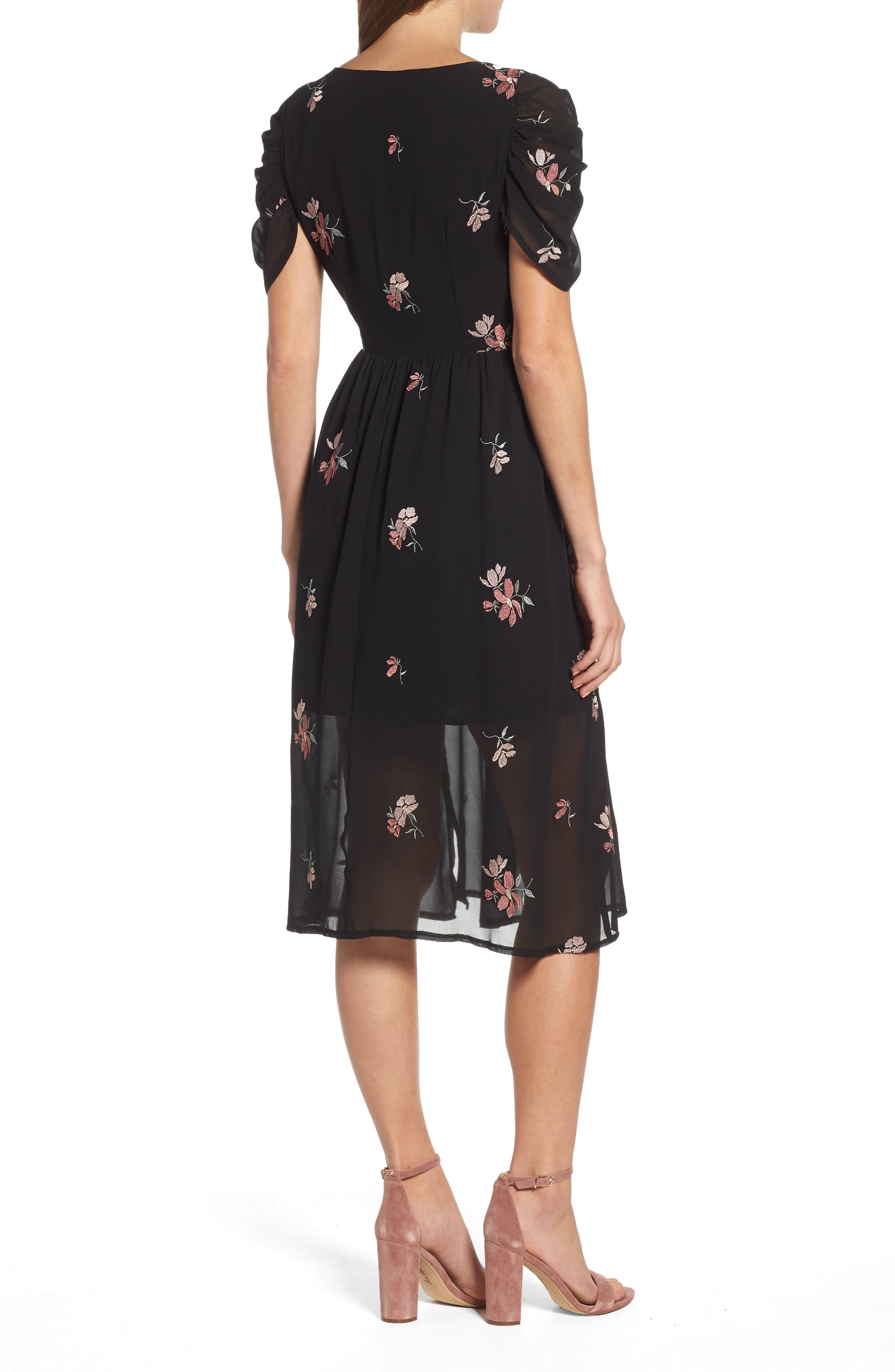 Floral Embroidered Wrap Midi Dress,                             Alternate thumbnail 2, color,                             BLACK