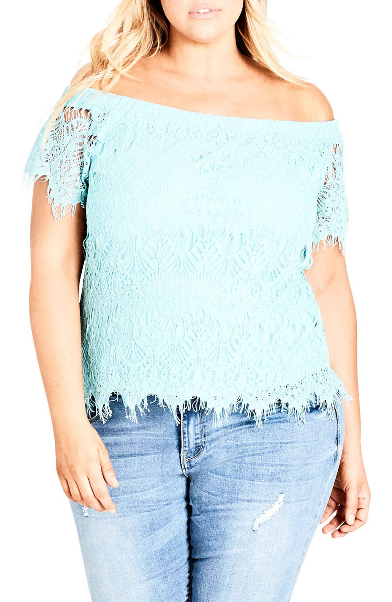 Lacy Off the Shoulder Top,                             Main thumbnail 1, color,                             MINT