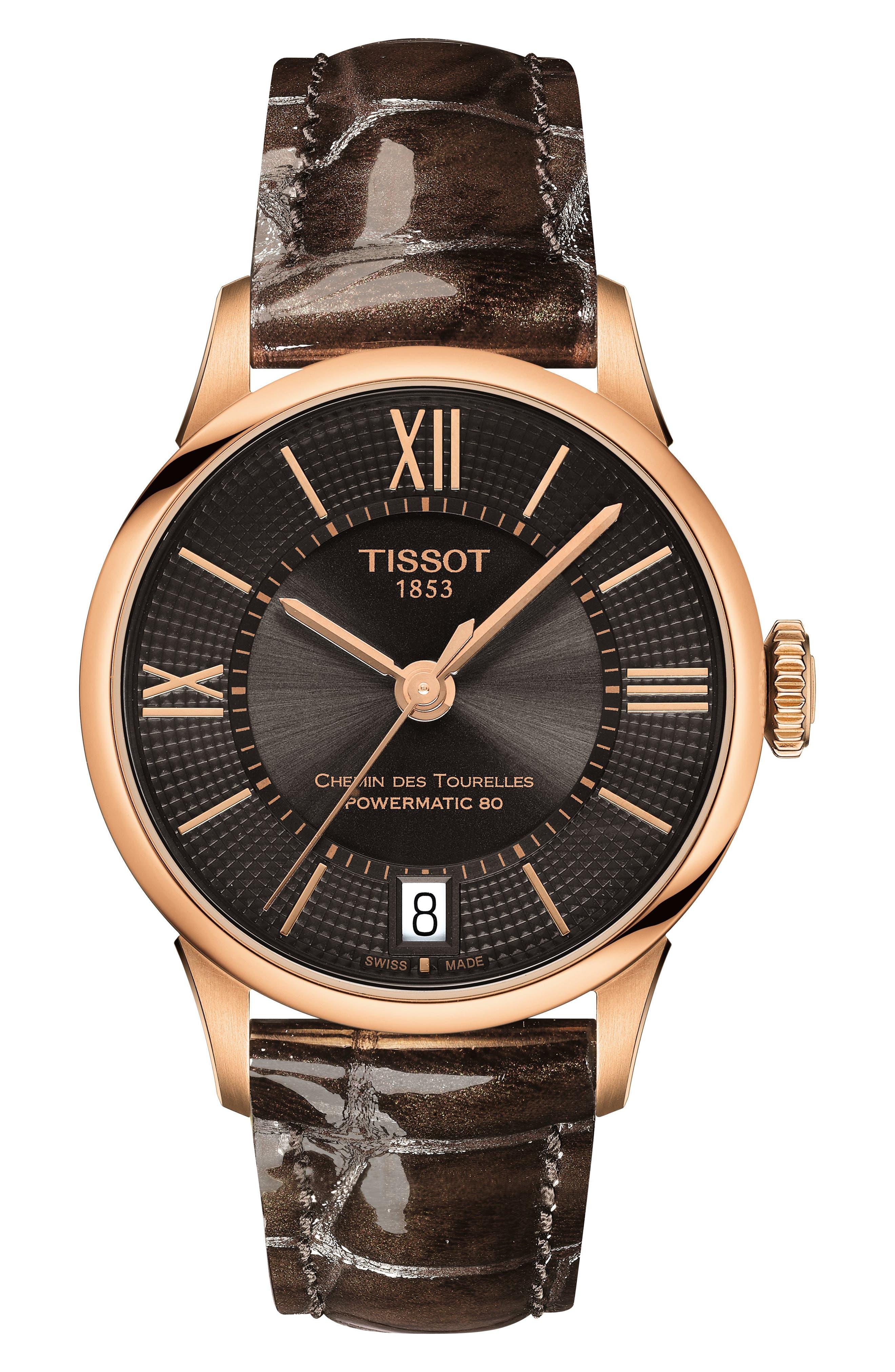 Chemin des Tourelles Powermatic 80 Lady Leather Strap Watch, 32mm,                         Main,                         color, BROWN/ GUNMETAL/ ROSE GOLD