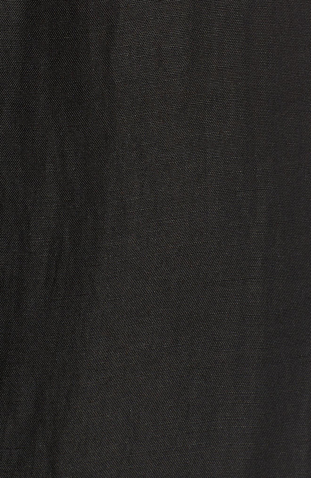 Linen Blend Midi Skirt,                             Alternate thumbnail 5, color,                             001
