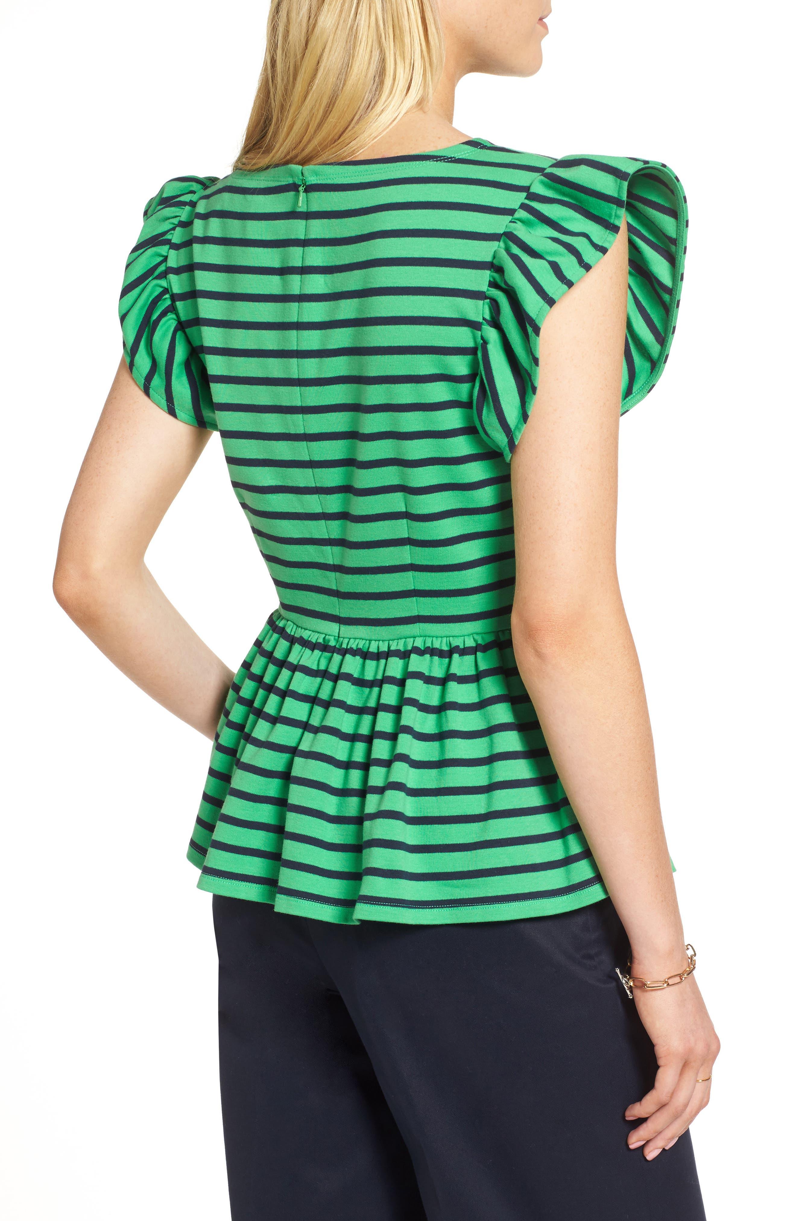 Stripe Knit Peplum Top,                             Alternate thumbnail 5, color,