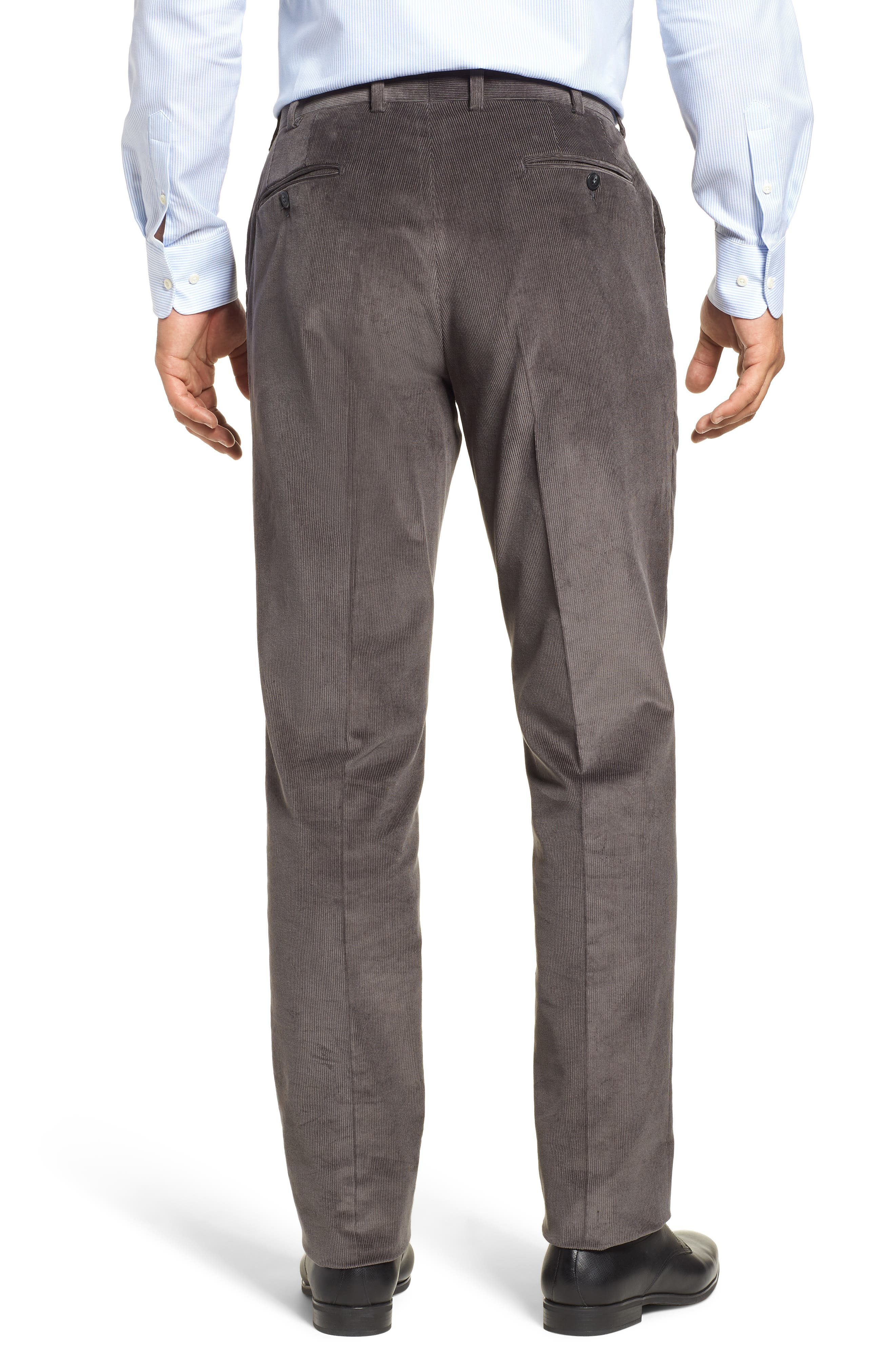 Torino Traditional Fit Flat Front Corduroy Trousers,                             Alternate thumbnail 2, color,                             GREY