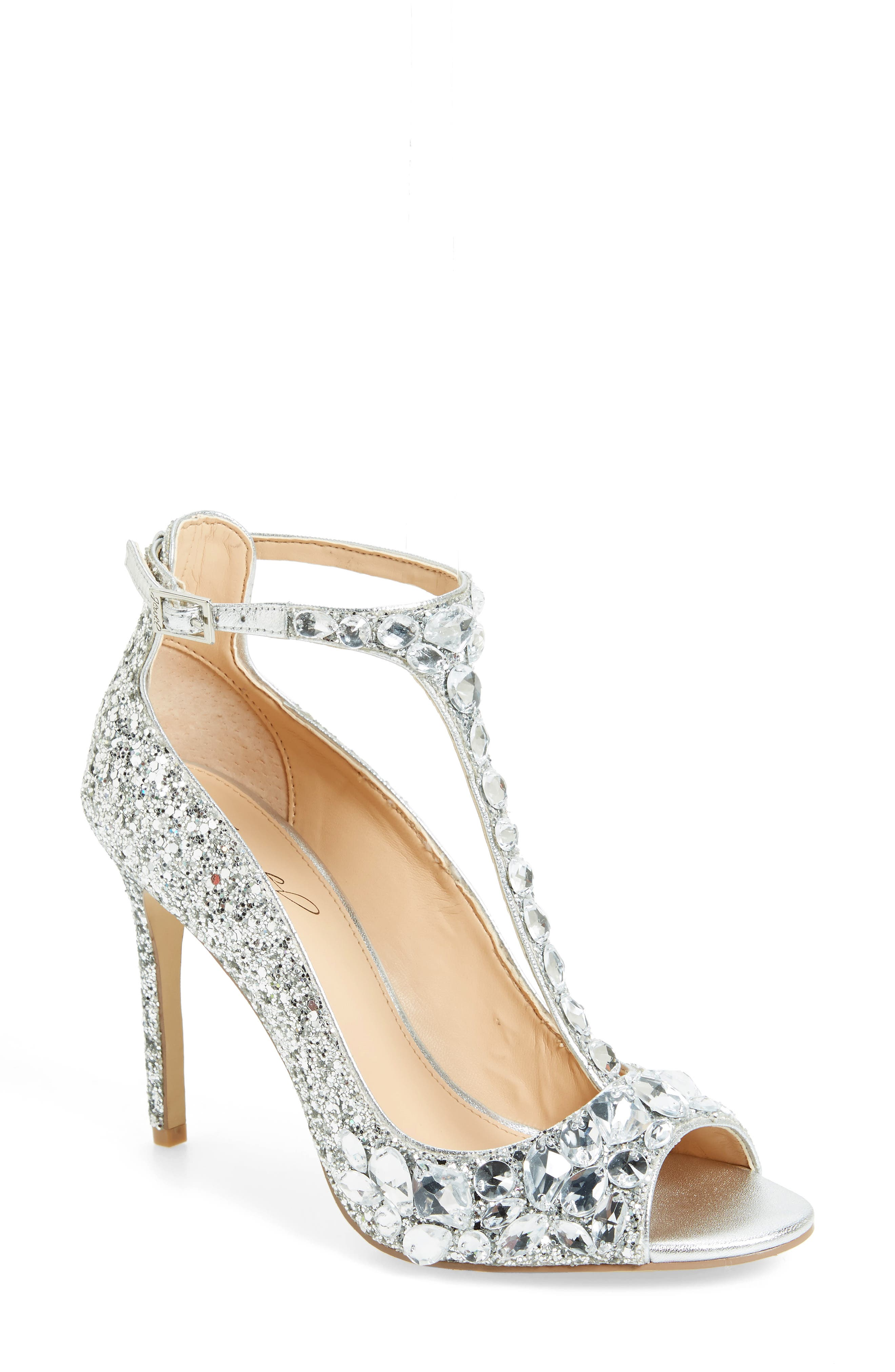 Conroy Embellished T-Strap Pump,                             Main thumbnail 1, color,                             SILVER