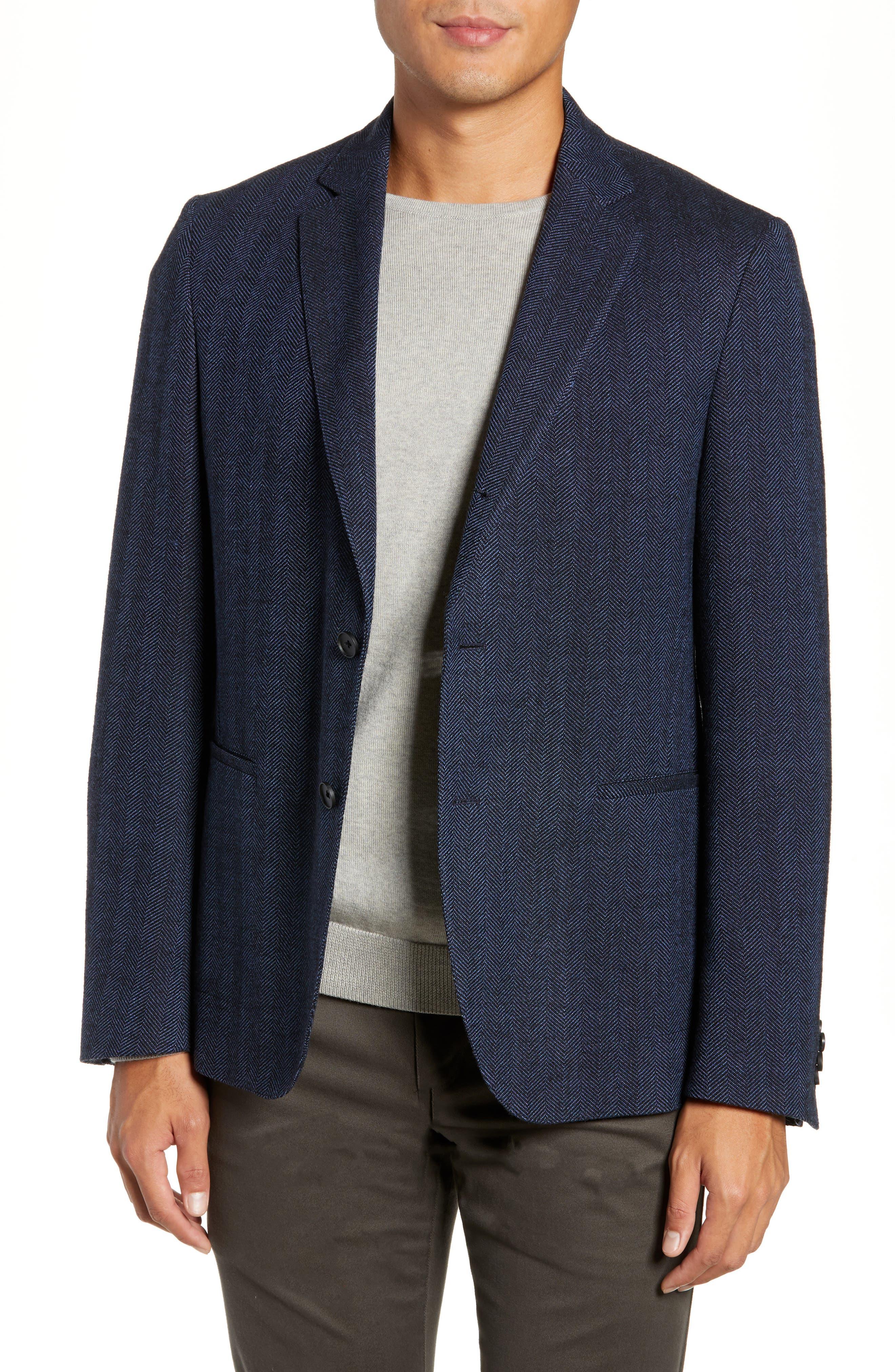 Nanon Trim Fit Herringbone Wool & Cotton Sport Coat,                             Alternate thumbnail 4, color,                             OPEN BLUE