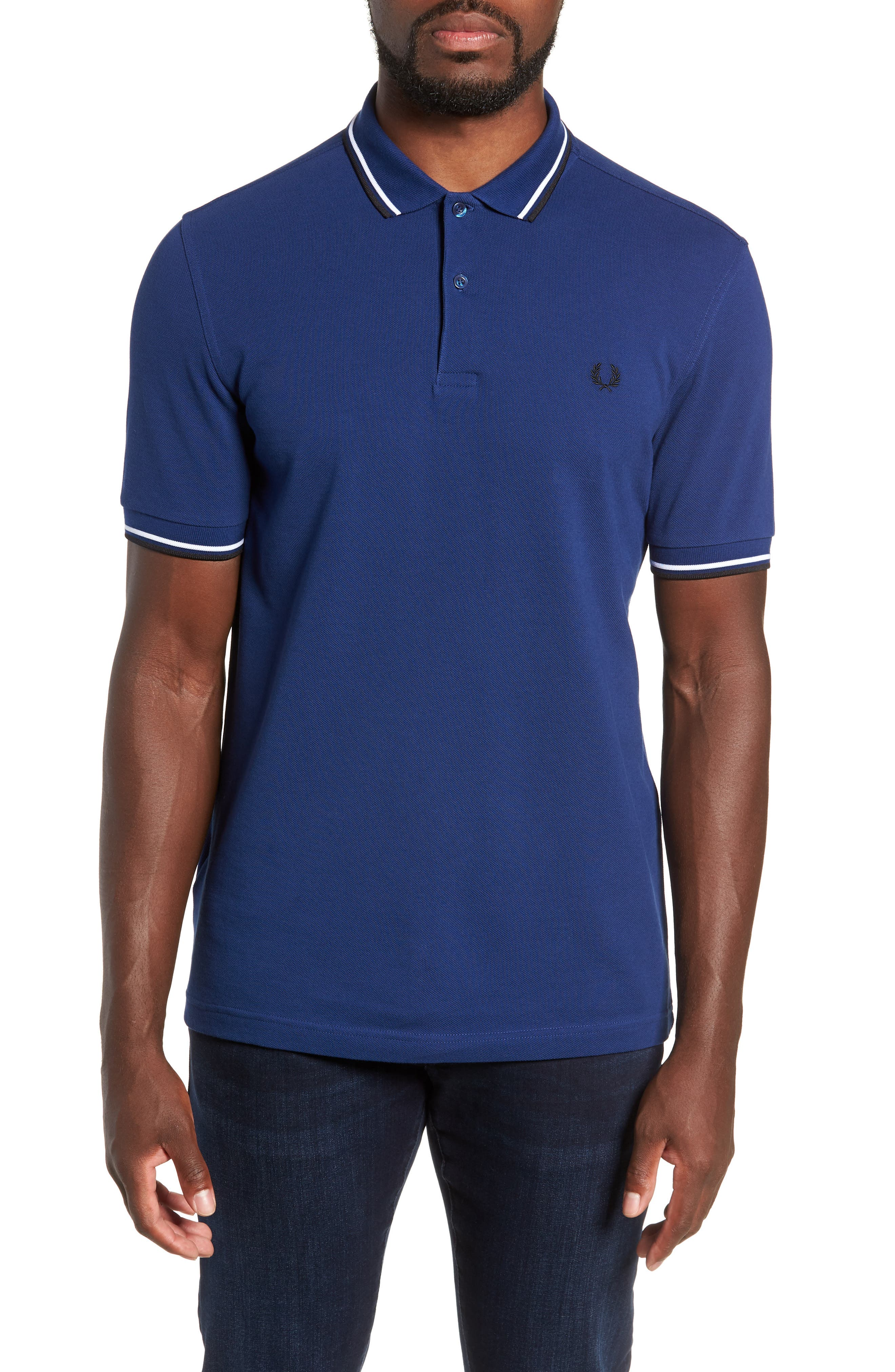 Extra Trim Fit Twin Tipped Piqué Polo,                         Main,                         color, MEDIEVAL BLUE / WHITE / BLACK
