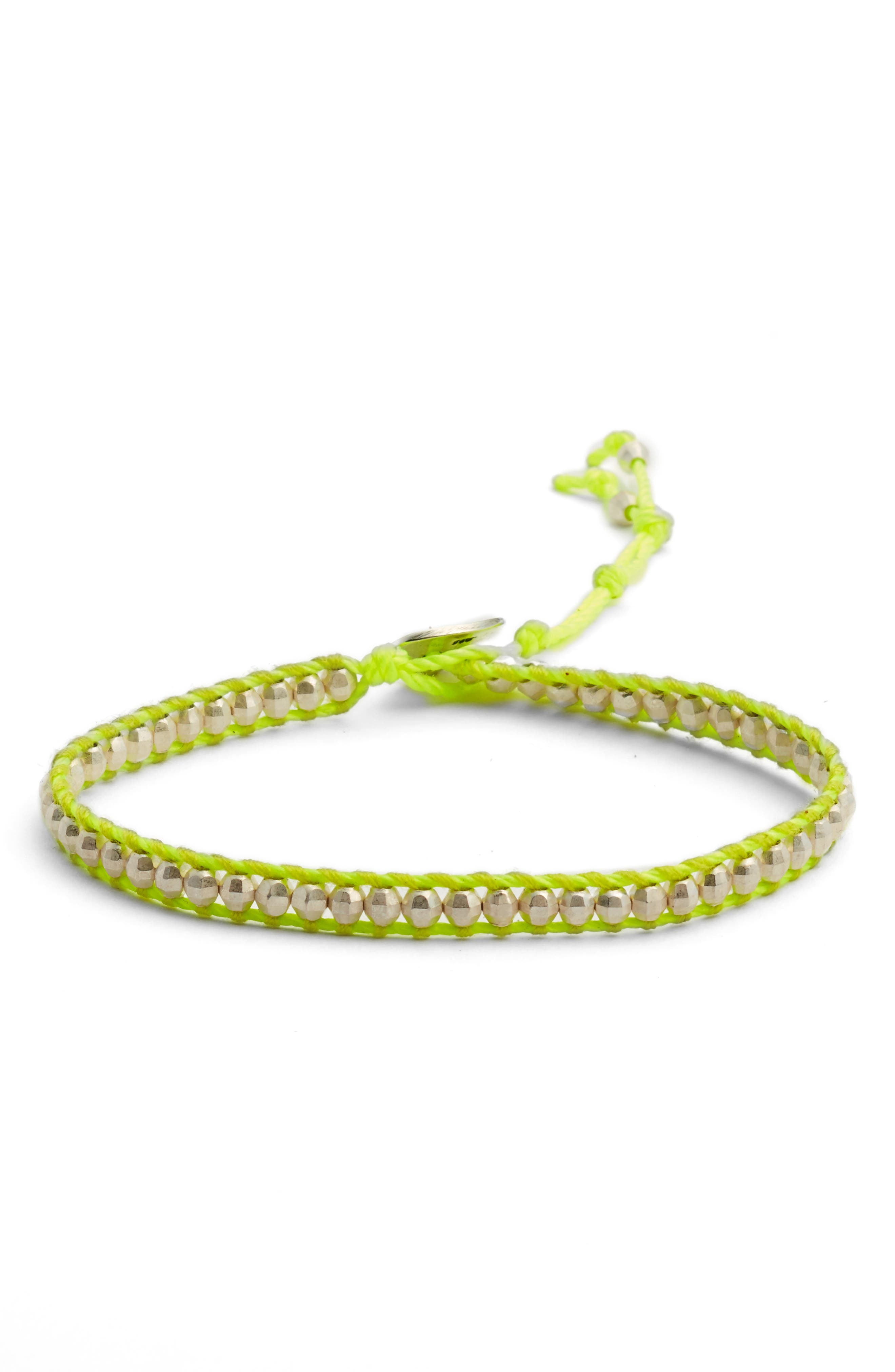 Beaded Bracelet,                             Main thumbnail 1, color,                             SILVER/ NEON YELLOW