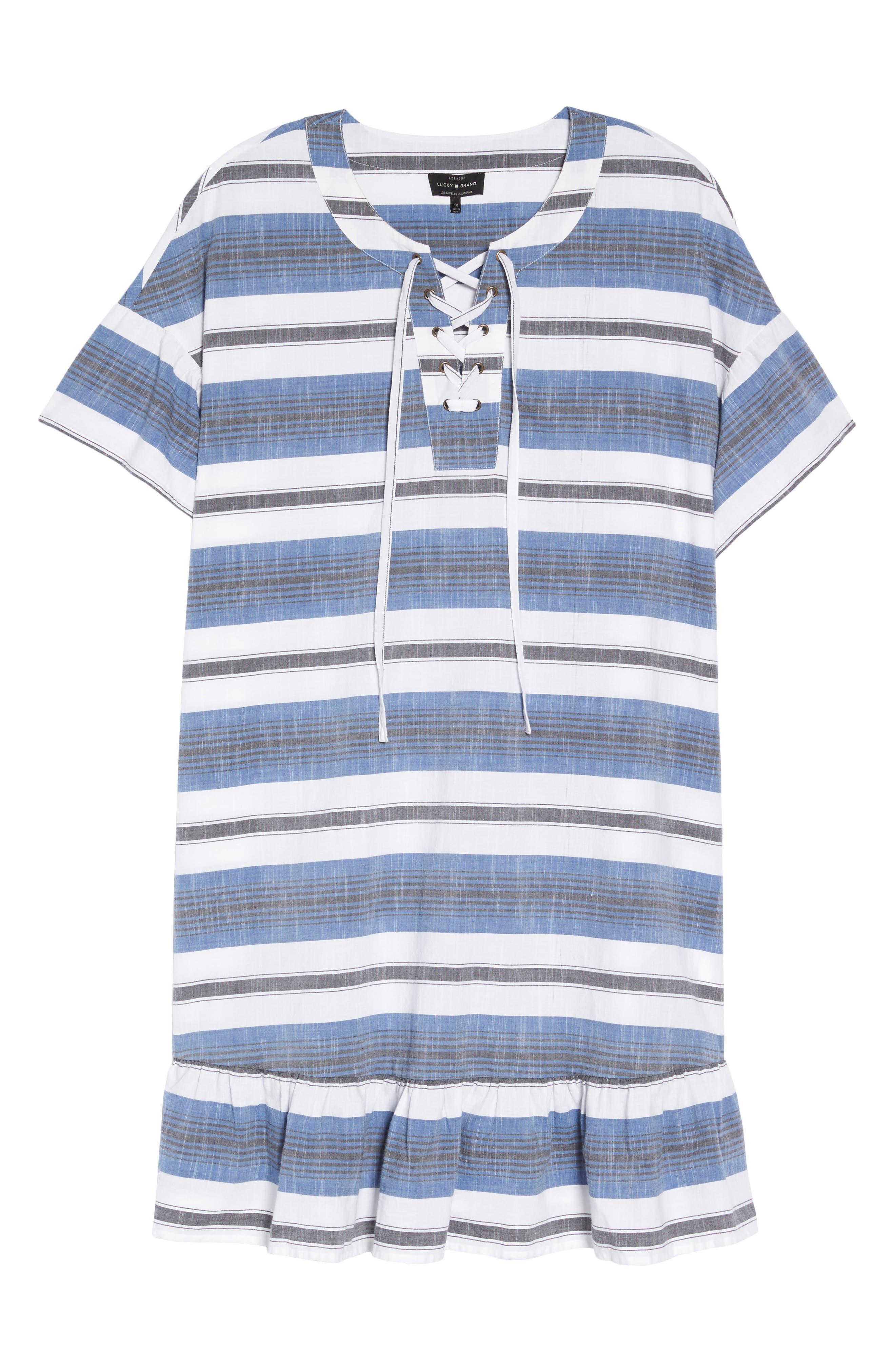 Lace-Up Stripe Dress,                             Alternate thumbnail 6, color,                             460