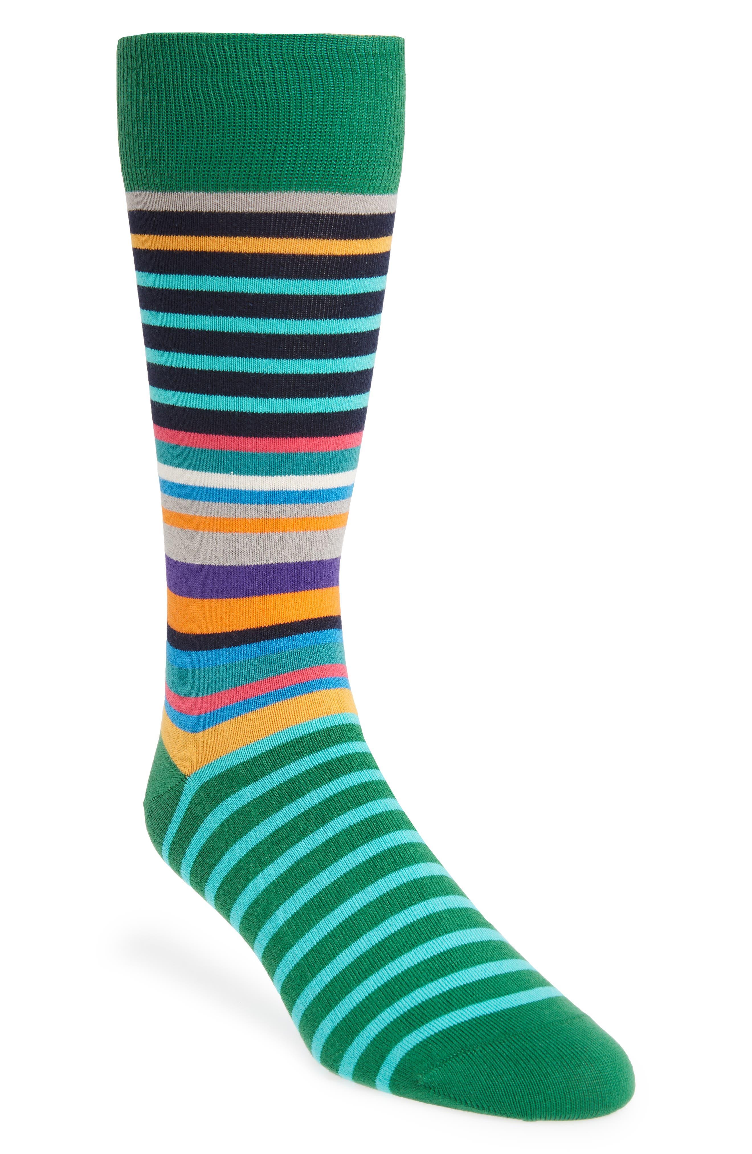 Mojo Striped Socks,                             Main thumbnail 1, color,                             GREEN