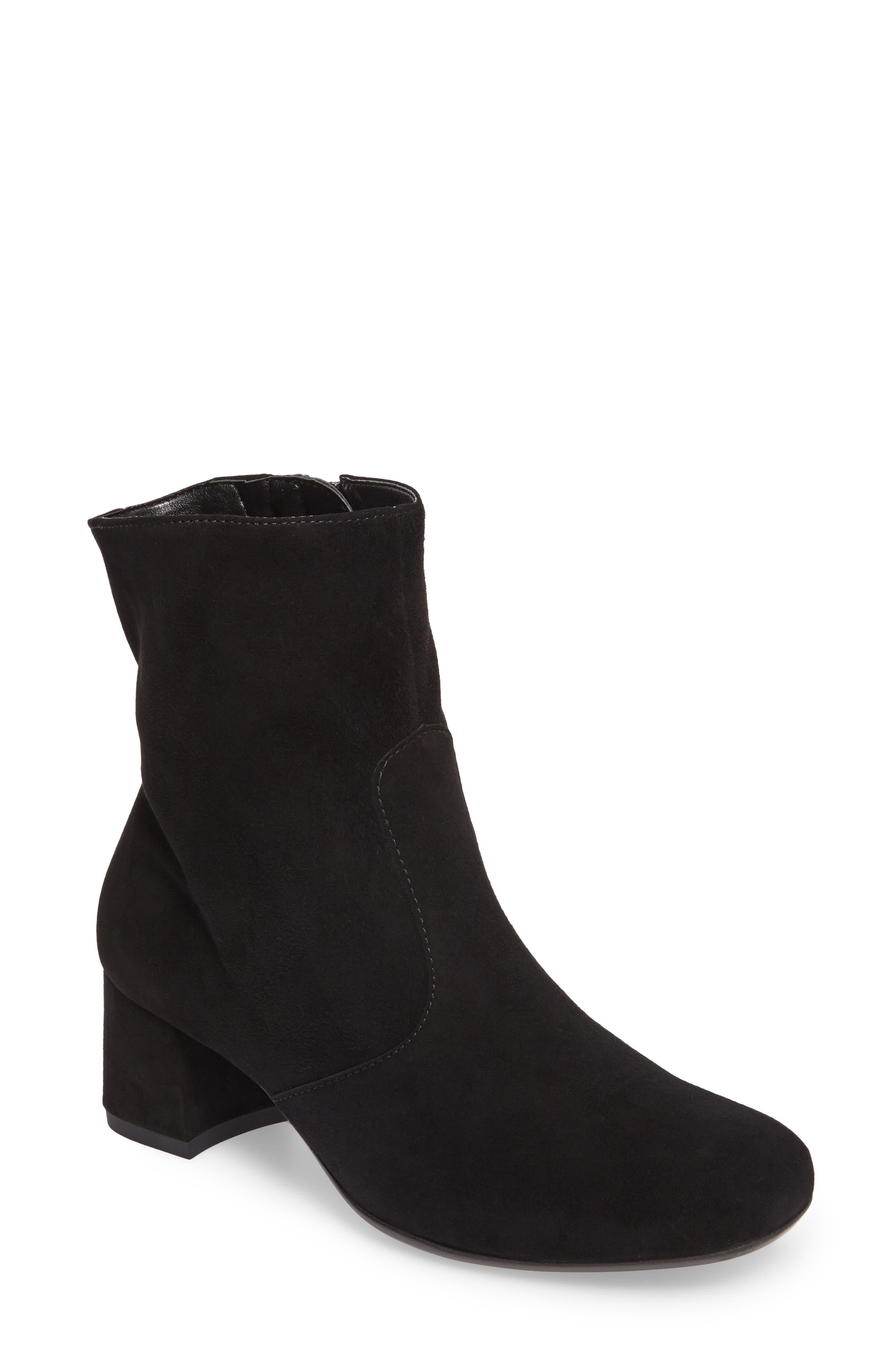 Carter Sock Bootie,                         Main,                         color, BLACK SUEDE
