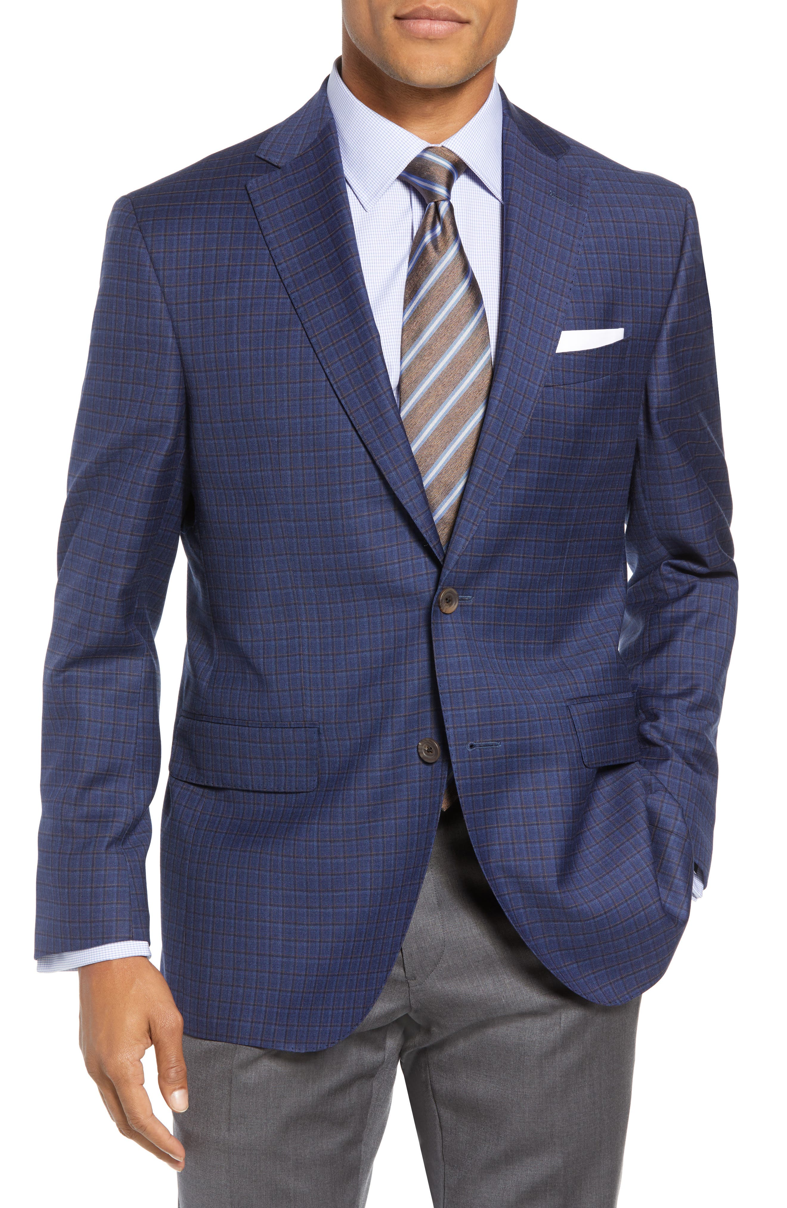 Connor Classic Fit Check Wool Sport Coat,                         Main,                         color, BLUE