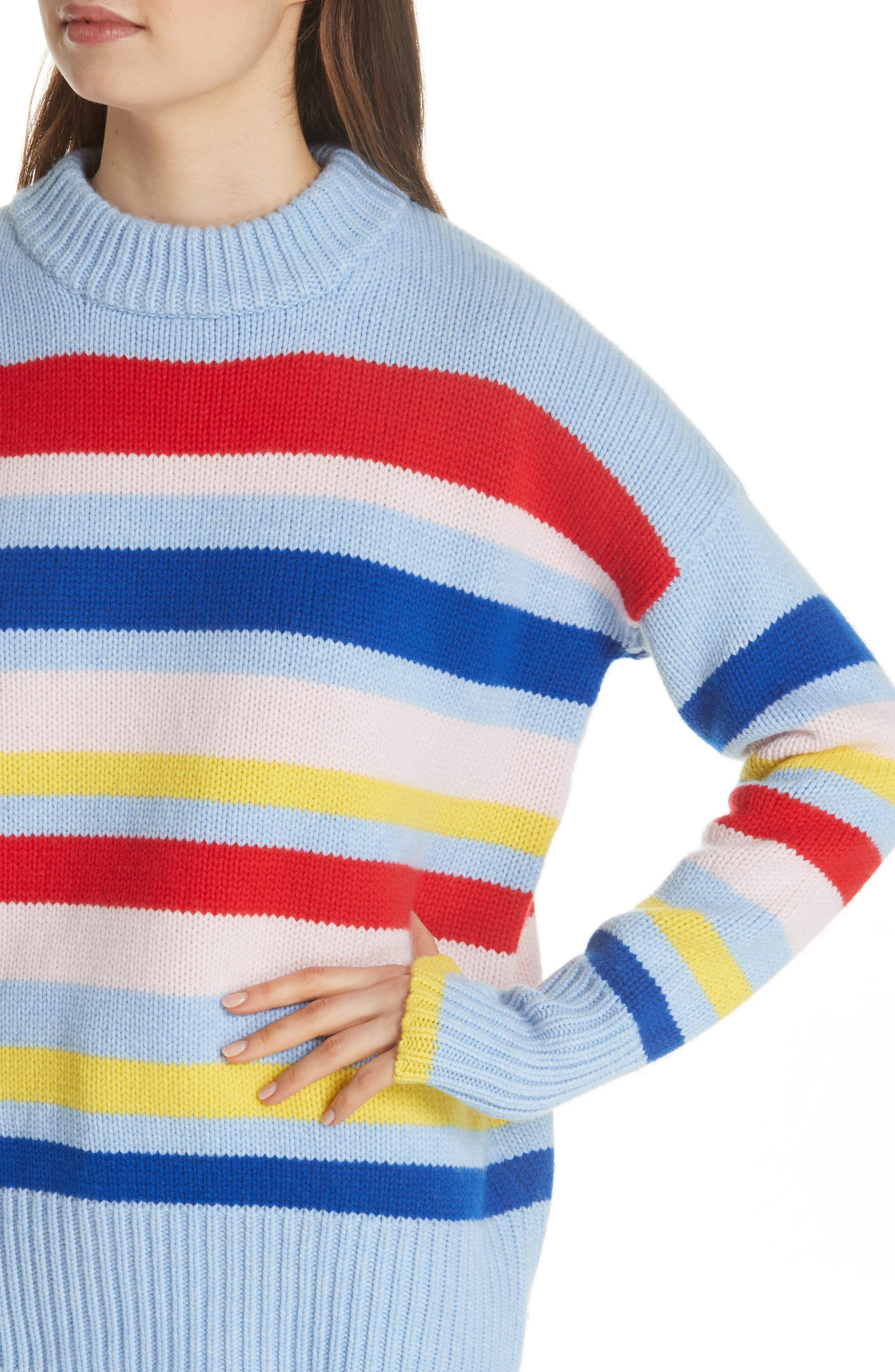 LA LIGNE,                             Happy Marin Sweater,                             Alternate thumbnail 4, color,                             RAINBOW STRIPE