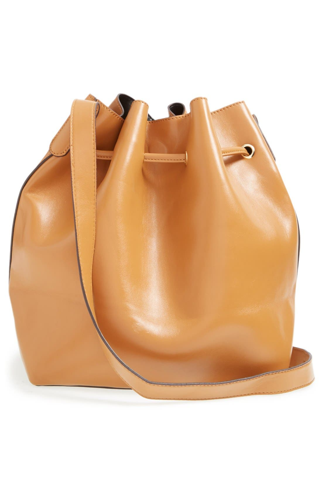 SOLE SOCIETY,                             'Nevin' Faux Leather Drawstring Bucket Bag,                             Alternate thumbnail 3, color,                             200