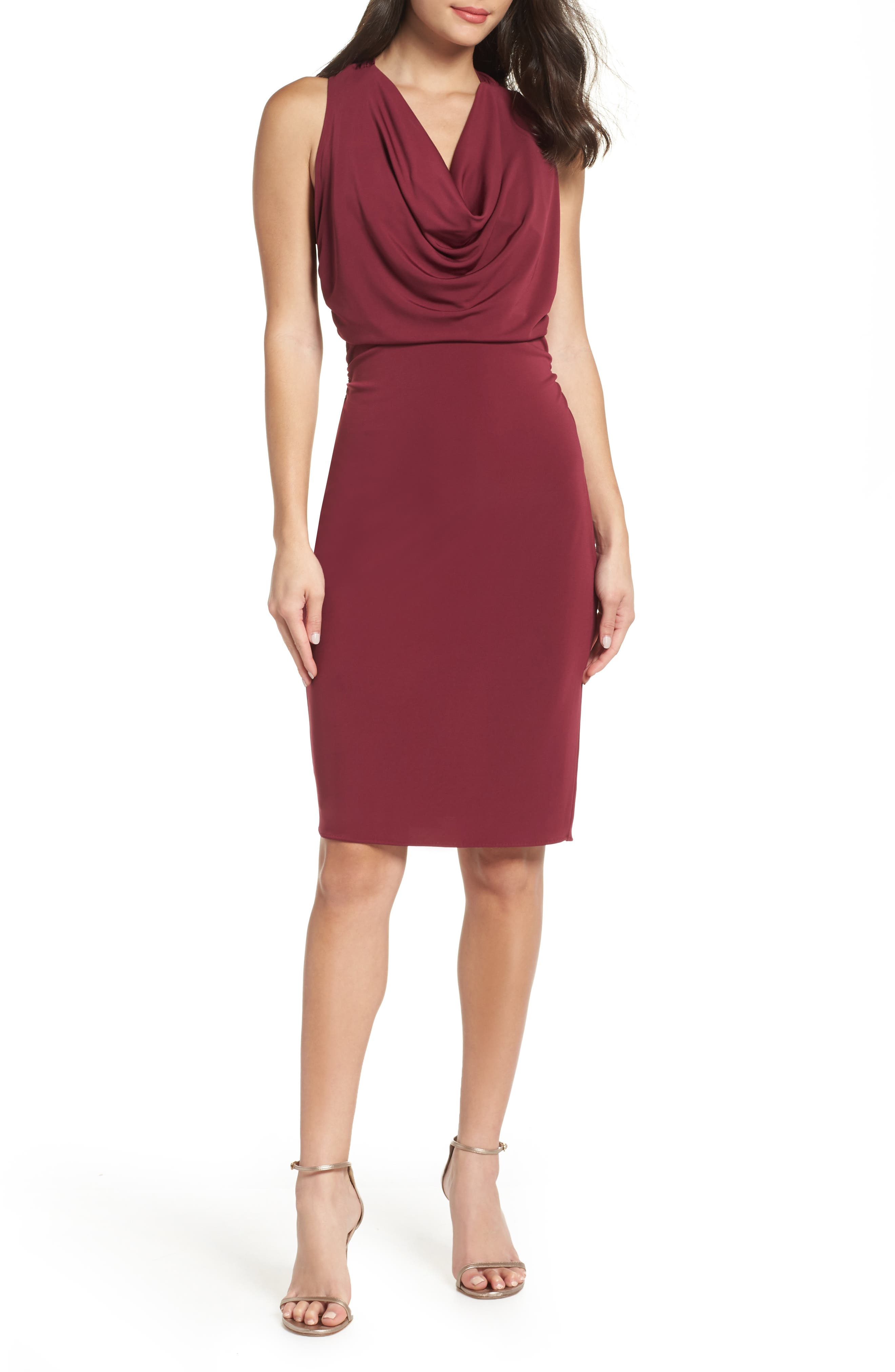Elise Cowl Neck Sleeveless Dress,                             Main thumbnail 1, color,                             BURGUNDY