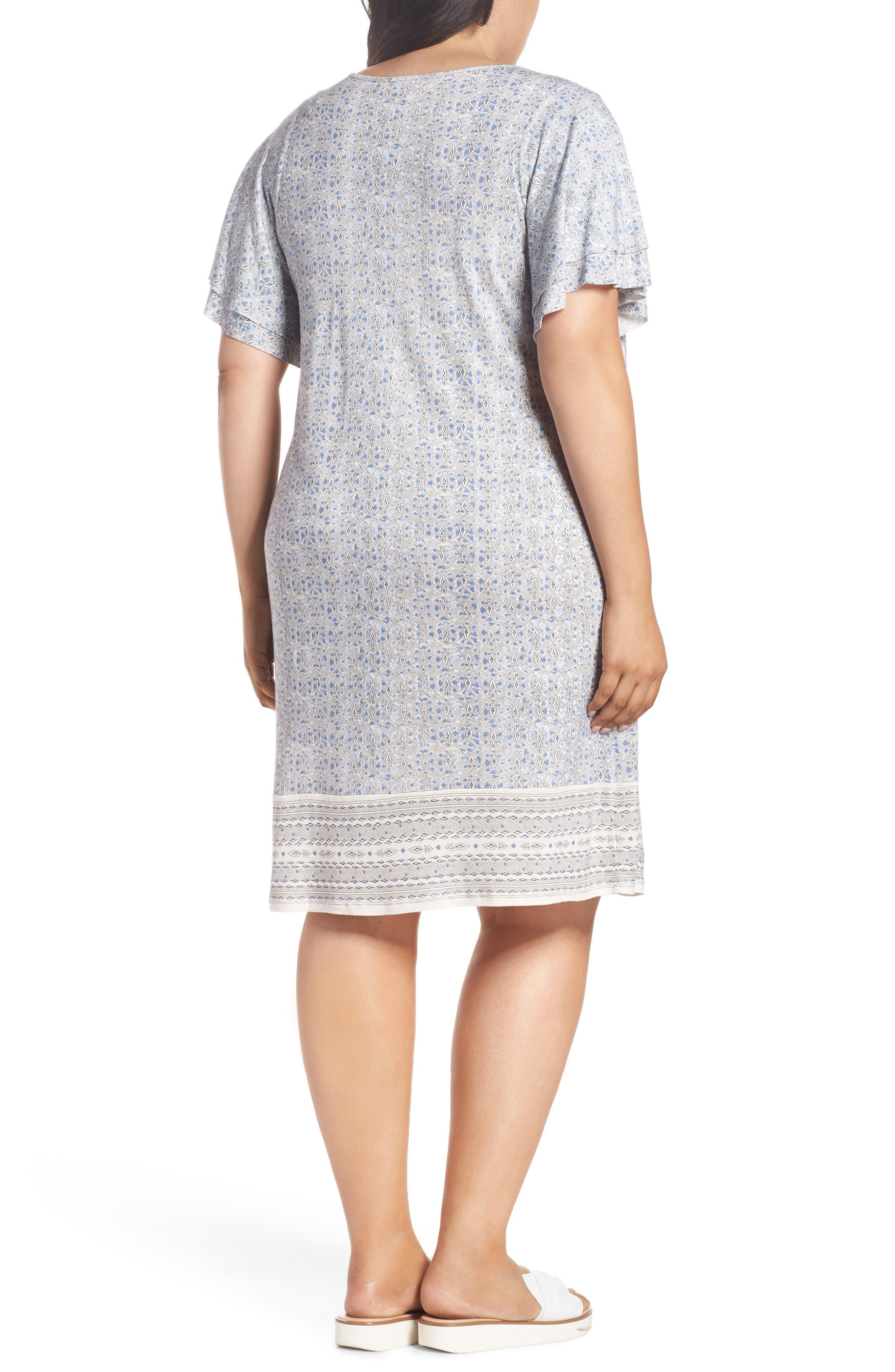 Ruffle Sleeve Print Shift Dress,                             Alternate thumbnail 2, color,                             460