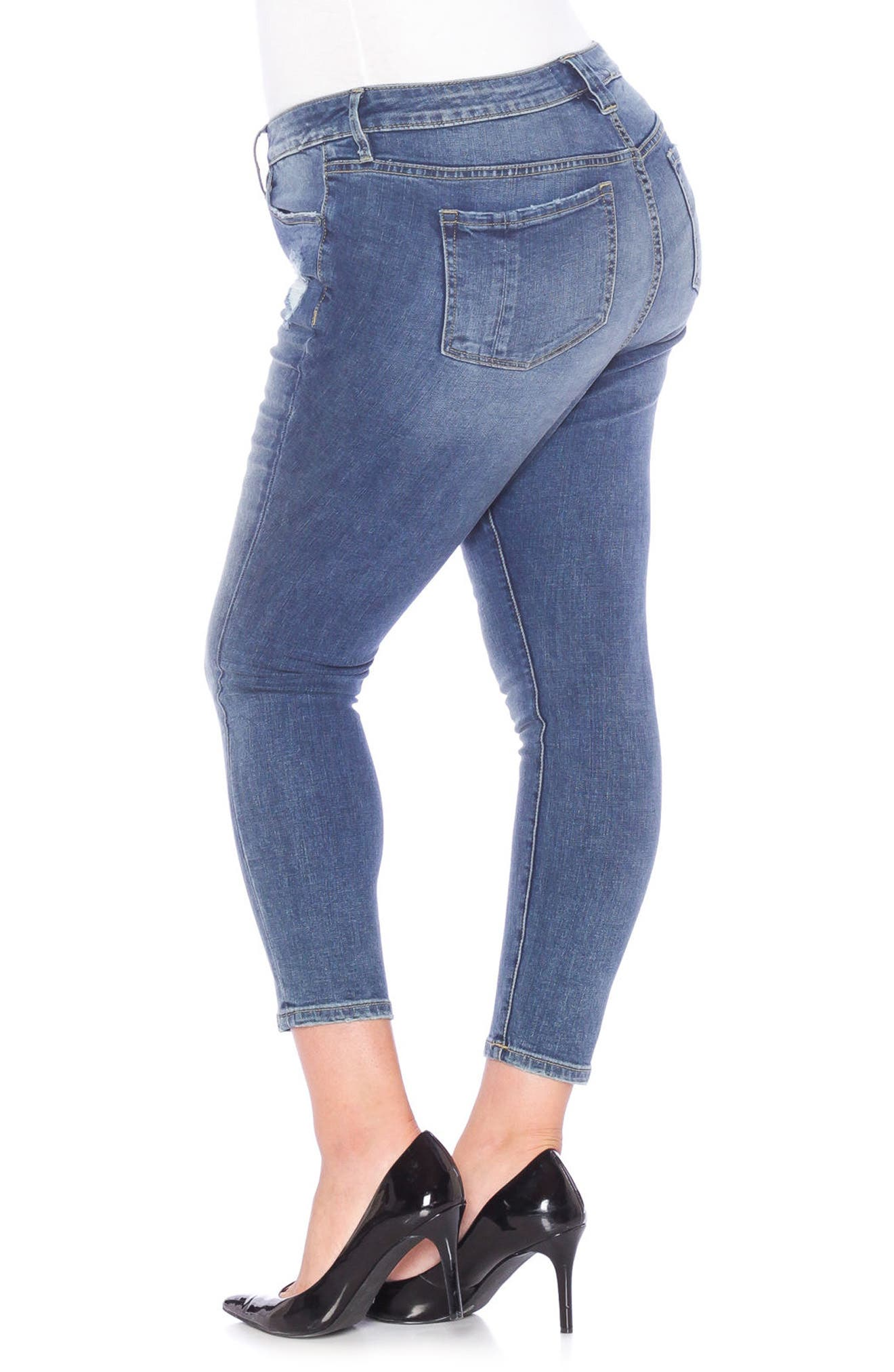 Distressed Ankle Skinny Jeans,                             Alternate thumbnail 3, color,                             421