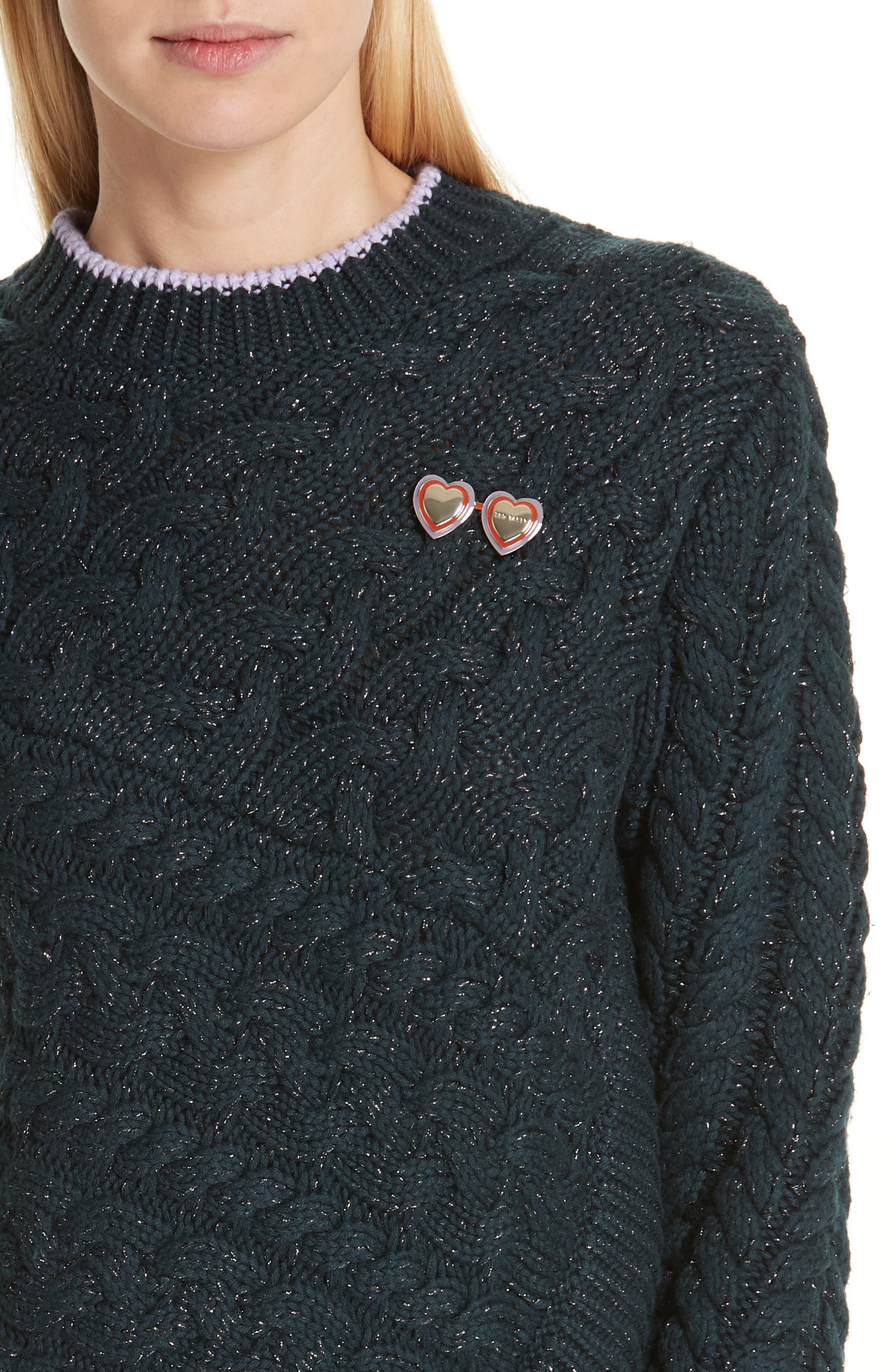 Colour by Numbers Charo Cable Knit Sweater,                             Alternate thumbnail 4, color,                             301