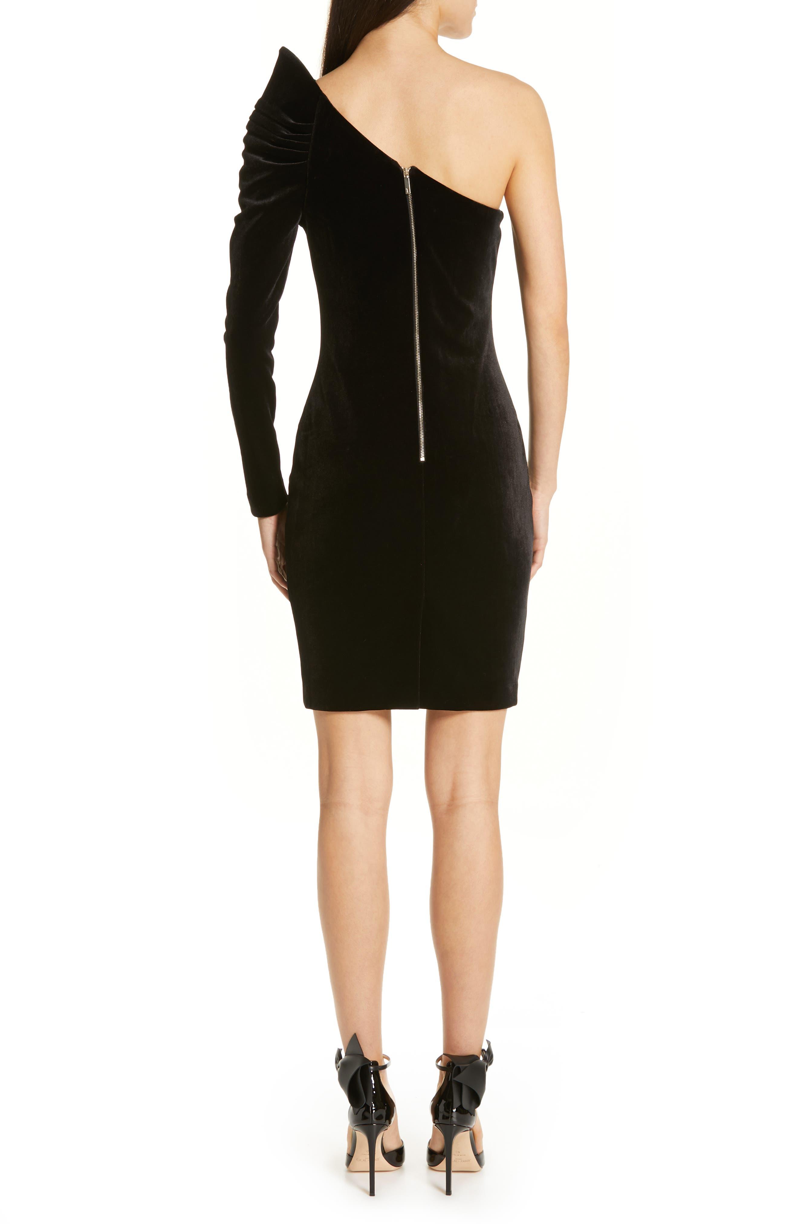 Awwtum One-Shoulder Velvet Body-Con Dress,                             Alternate thumbnail 2, color,                             BLACK