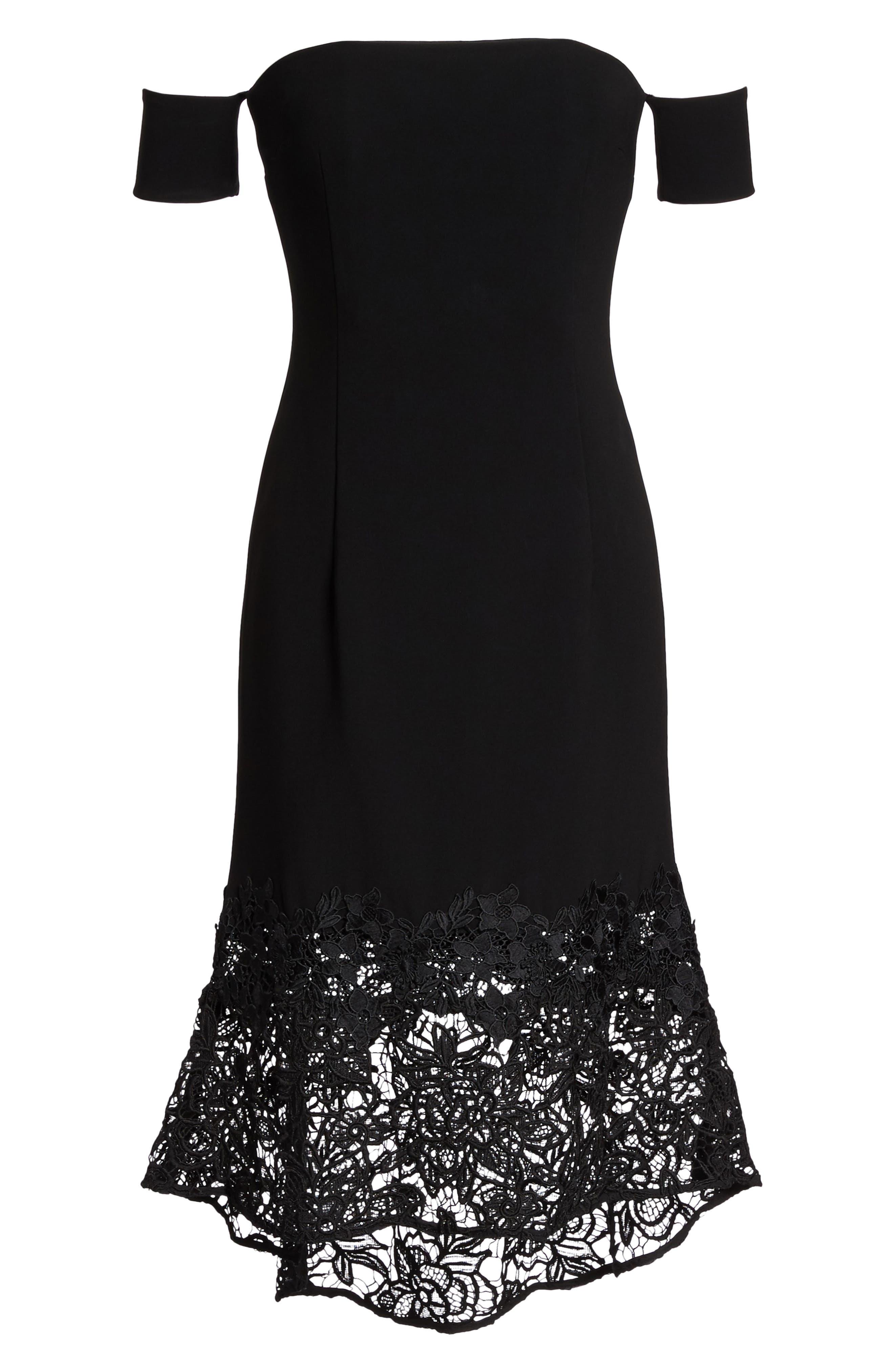 Noir Indure Lace Hem Off the Shoulder Dress,                             Alternate thumbnail 6, color,                             001