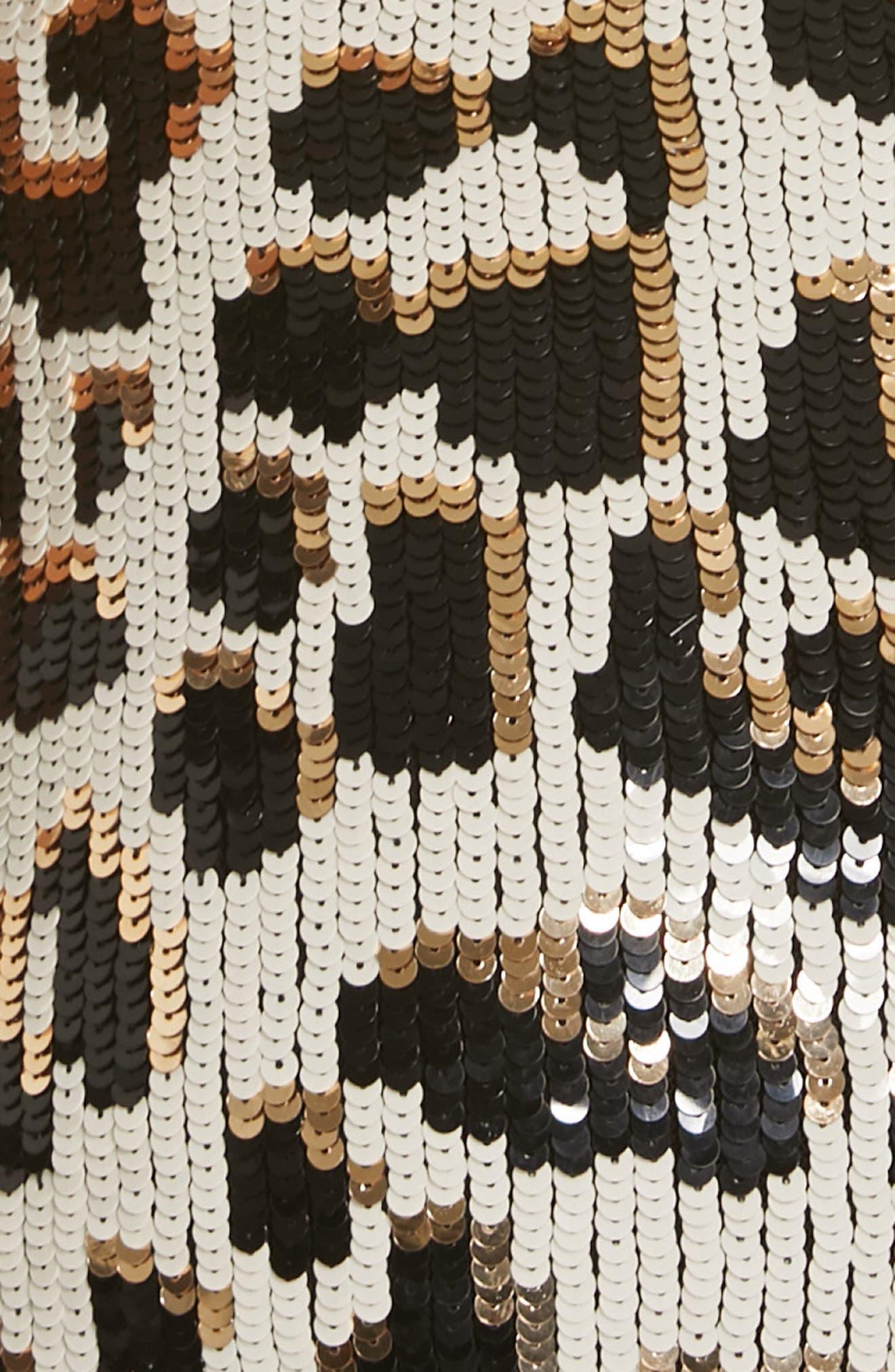 ALICE + OLIVIA,                             Nat Sequin Sheath Dress,                             Alternate thumbnail 6, color,                             LEOPARD