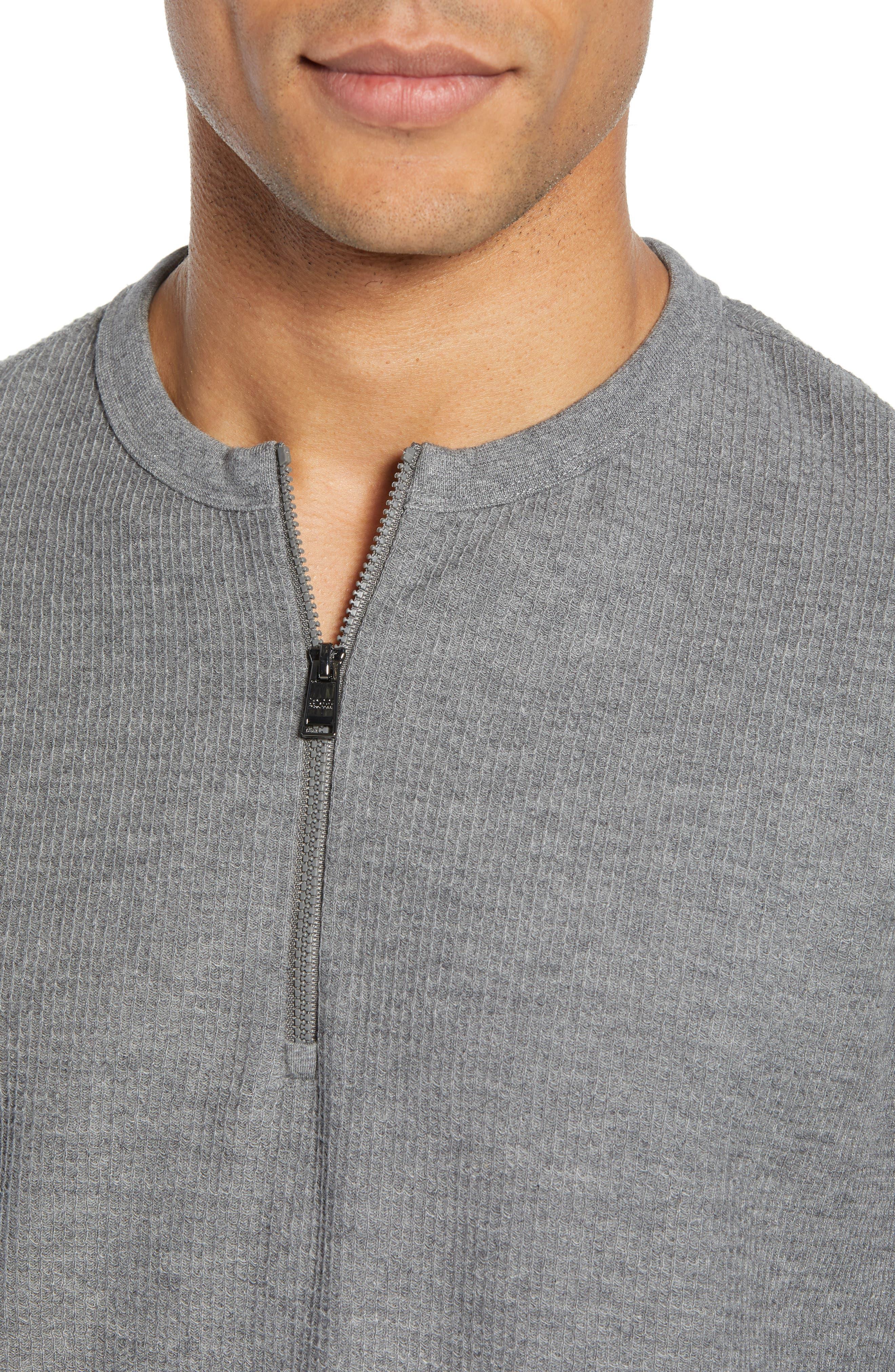 Textor Quarter Zip Thermal T-Shirt,                             Alternate thumbnail 4, color,                             GREY