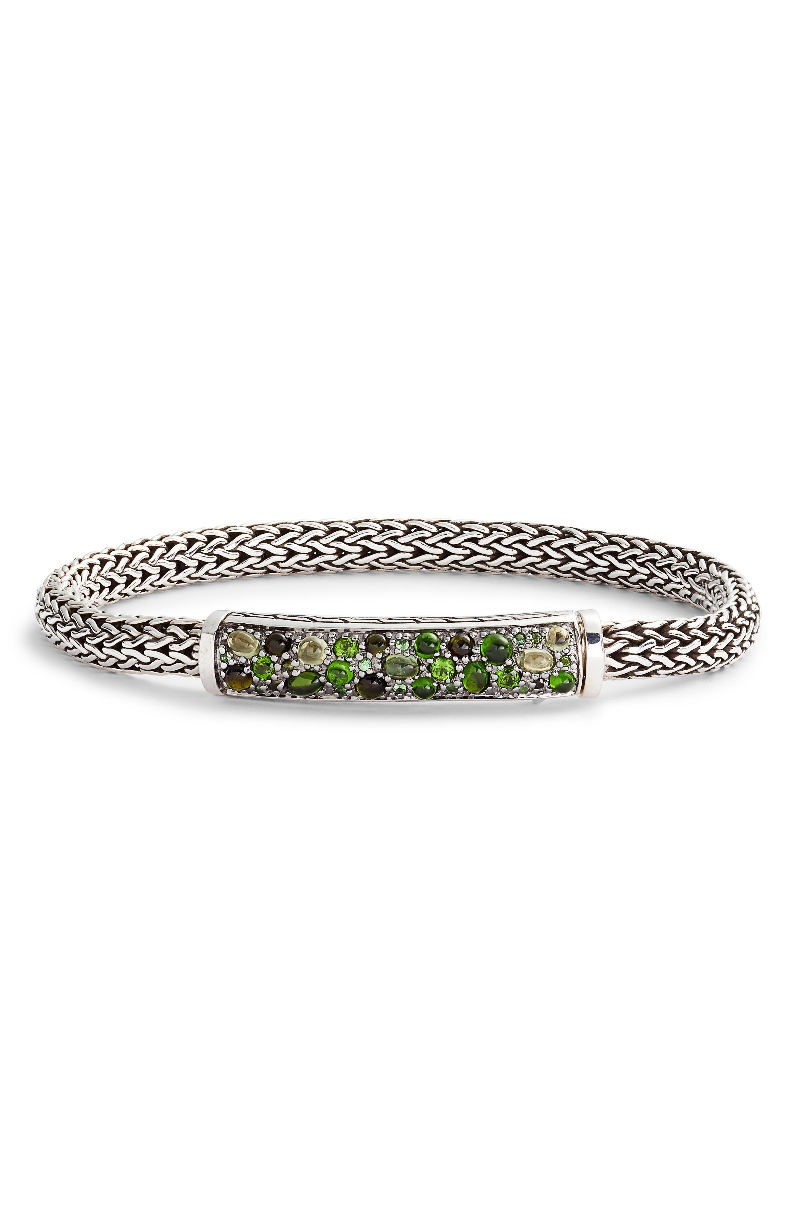 Sterling Silver Classic Chain Extra Small Bracelet With Green Tourmaline, Chrome Diopside & Peridot in Tourmaline/ Peridot/ Tsavorite