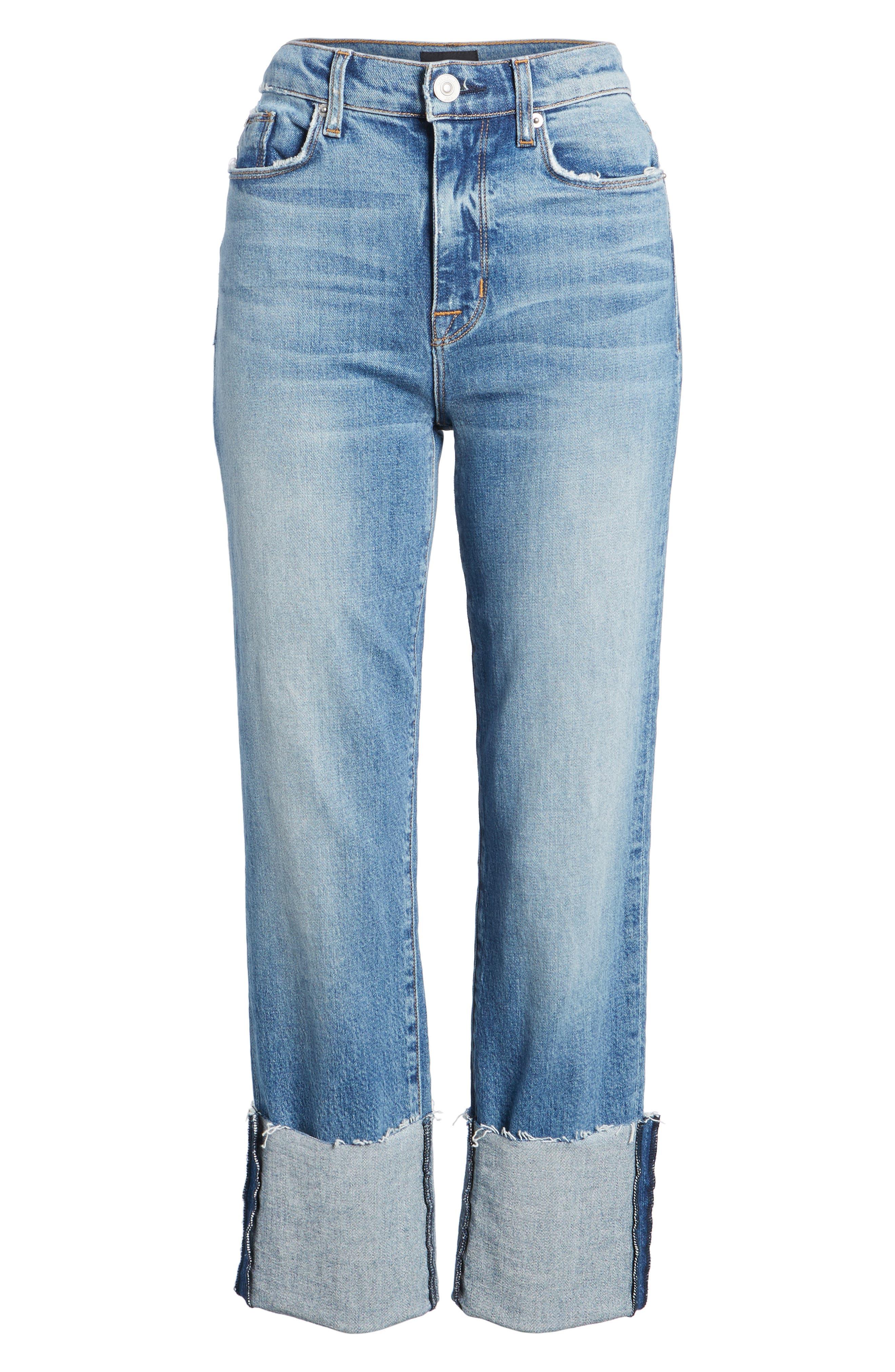 Zoeey High Waist Crop Straight Leg Jeans,                             Alternate thumbnail 18, color,