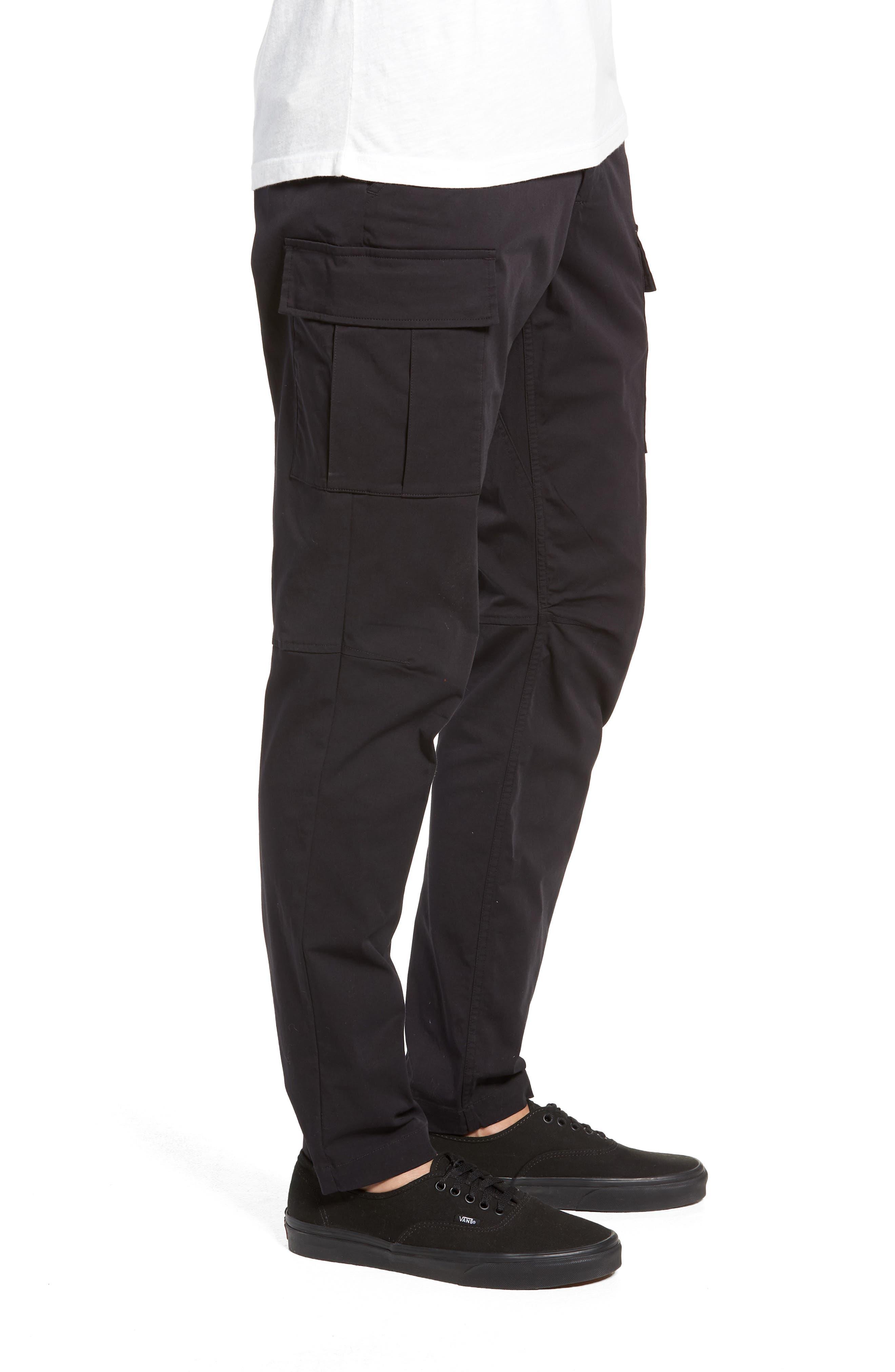 Cordura Slim Fit Cargo Pants,                             Alternate thumbnail 3, color,                             BLACK
