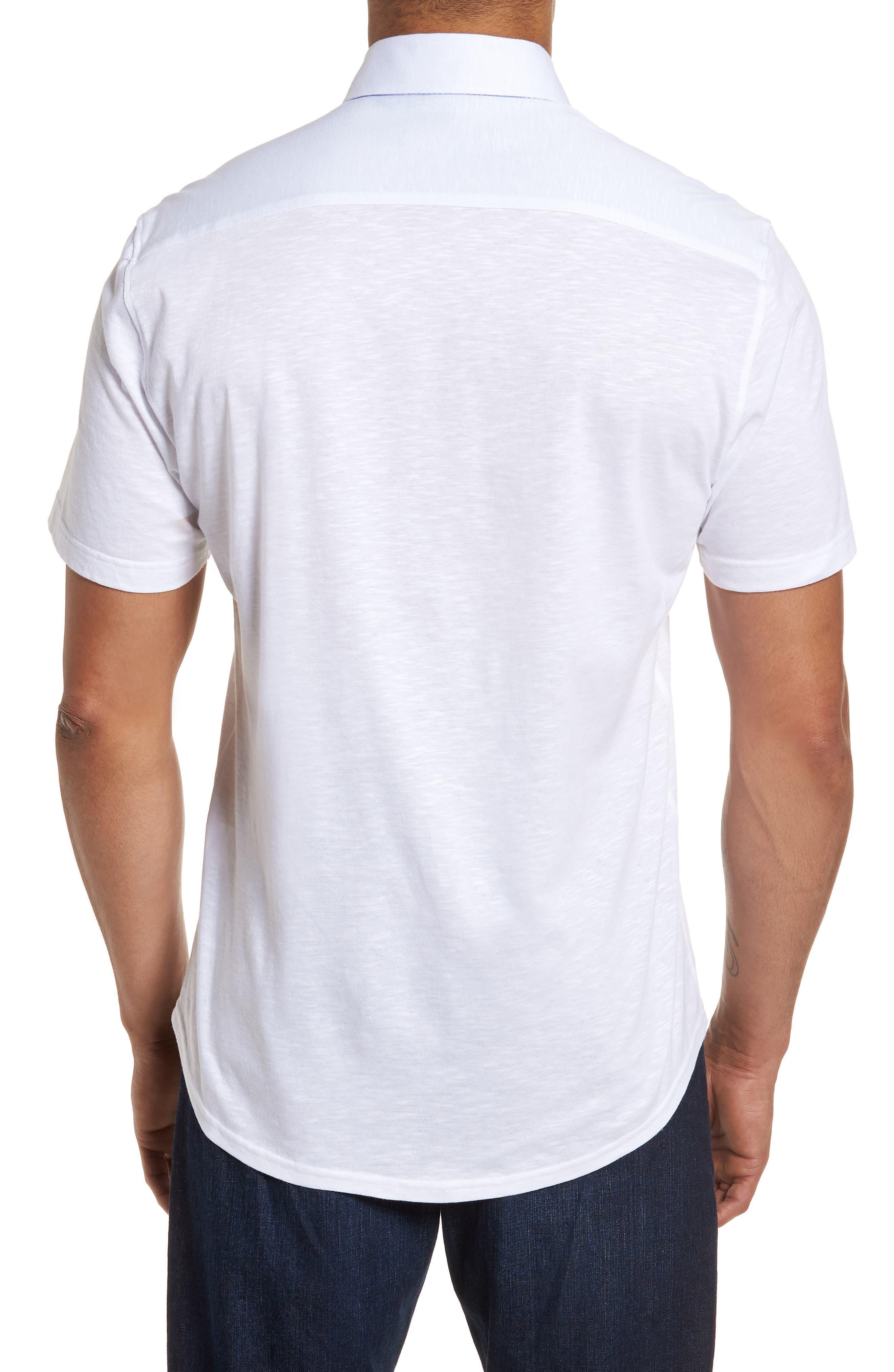 Slim Fit Flame Knit Sport Shirt,                             Alternate thumbnail 2, color,                             WHITE