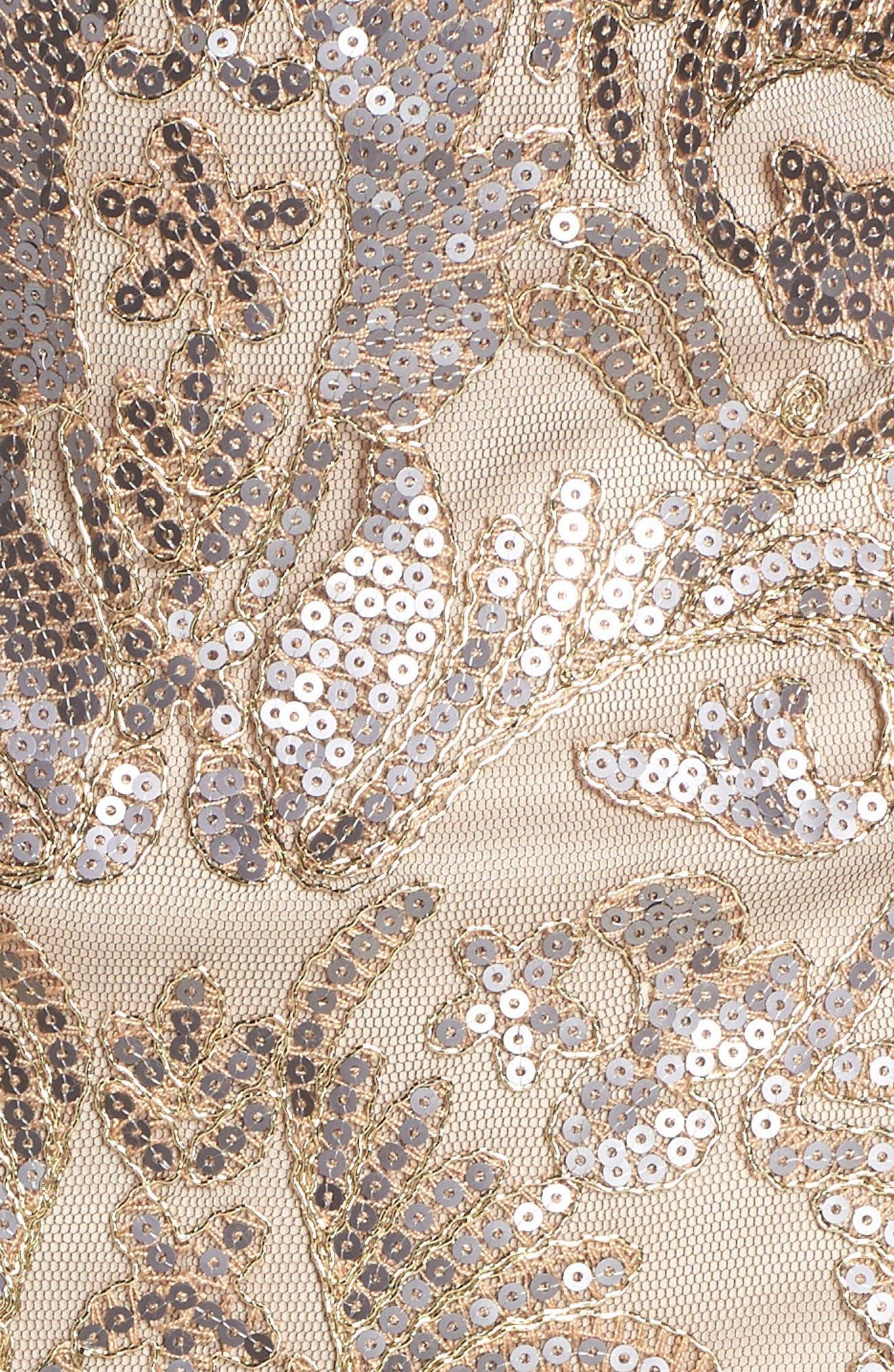 Sequin & Lace Sheath Dress,                             Alternate thumbnail 6, color,                             COPPER SHADOW