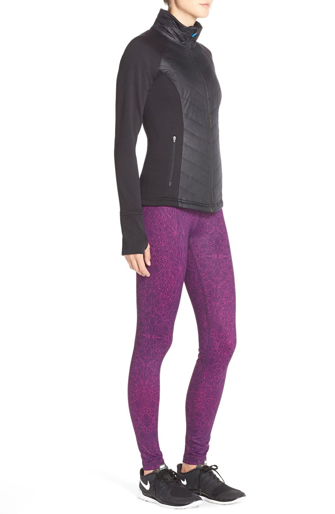 Zelfusion Reflective Quilted Jacket,                             Alternate thumbnail 9, color,                             001