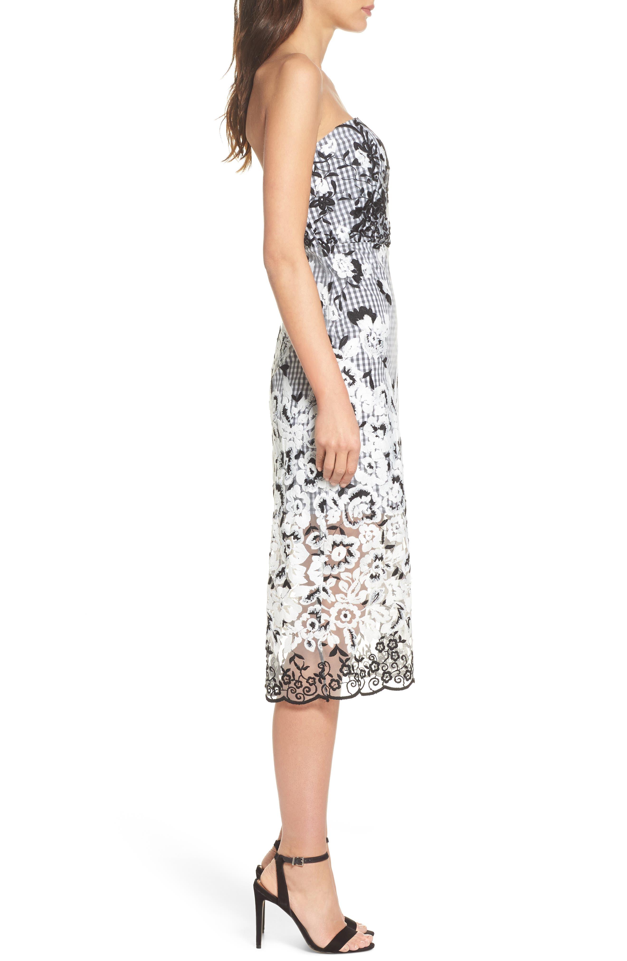 Strapless Midi Dress,                             Alternate thumbnail 3, color,                             001