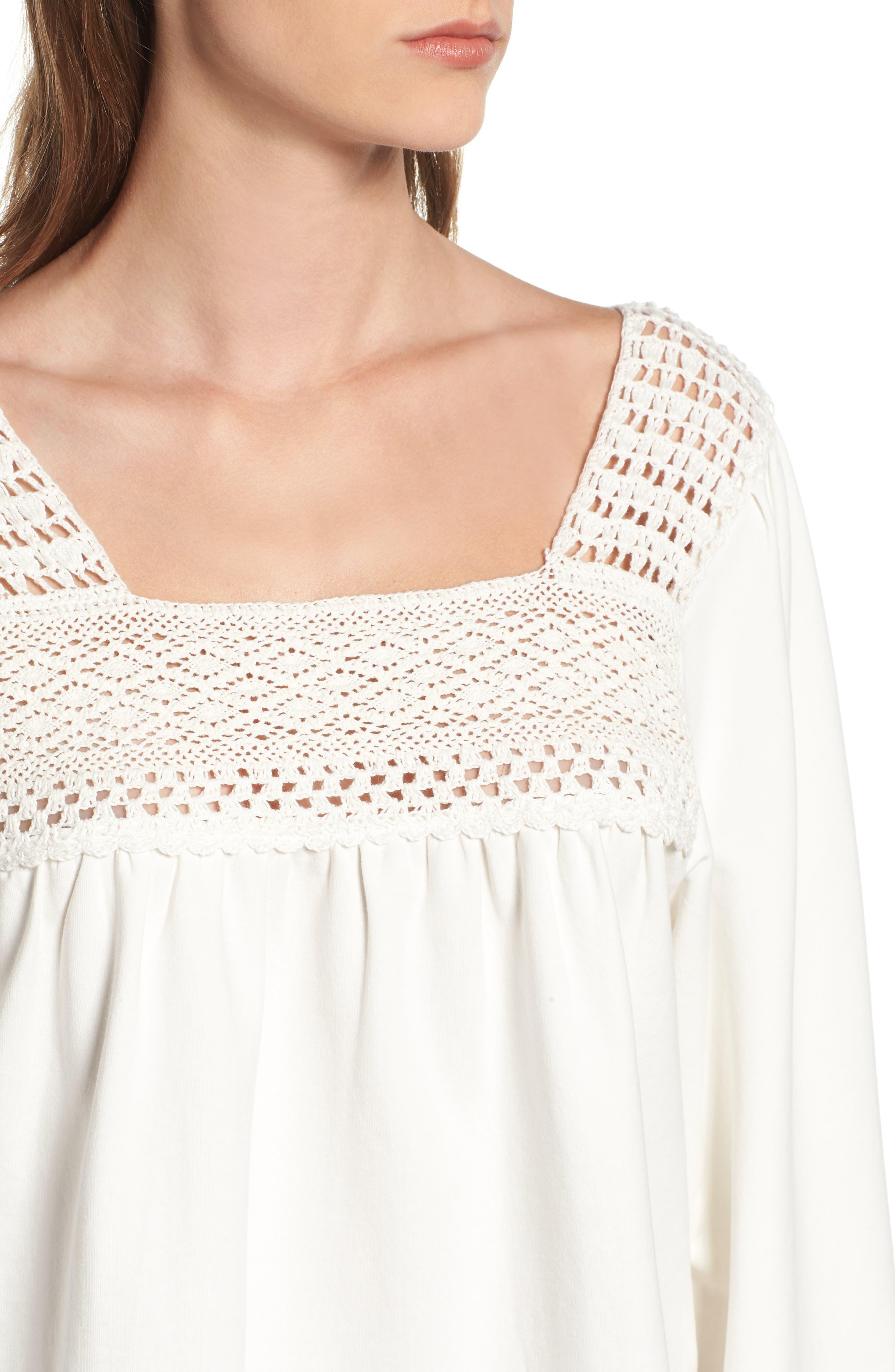Crochet Trim Sweatshirt,                             Alternate thumbnail 4, color,                             900