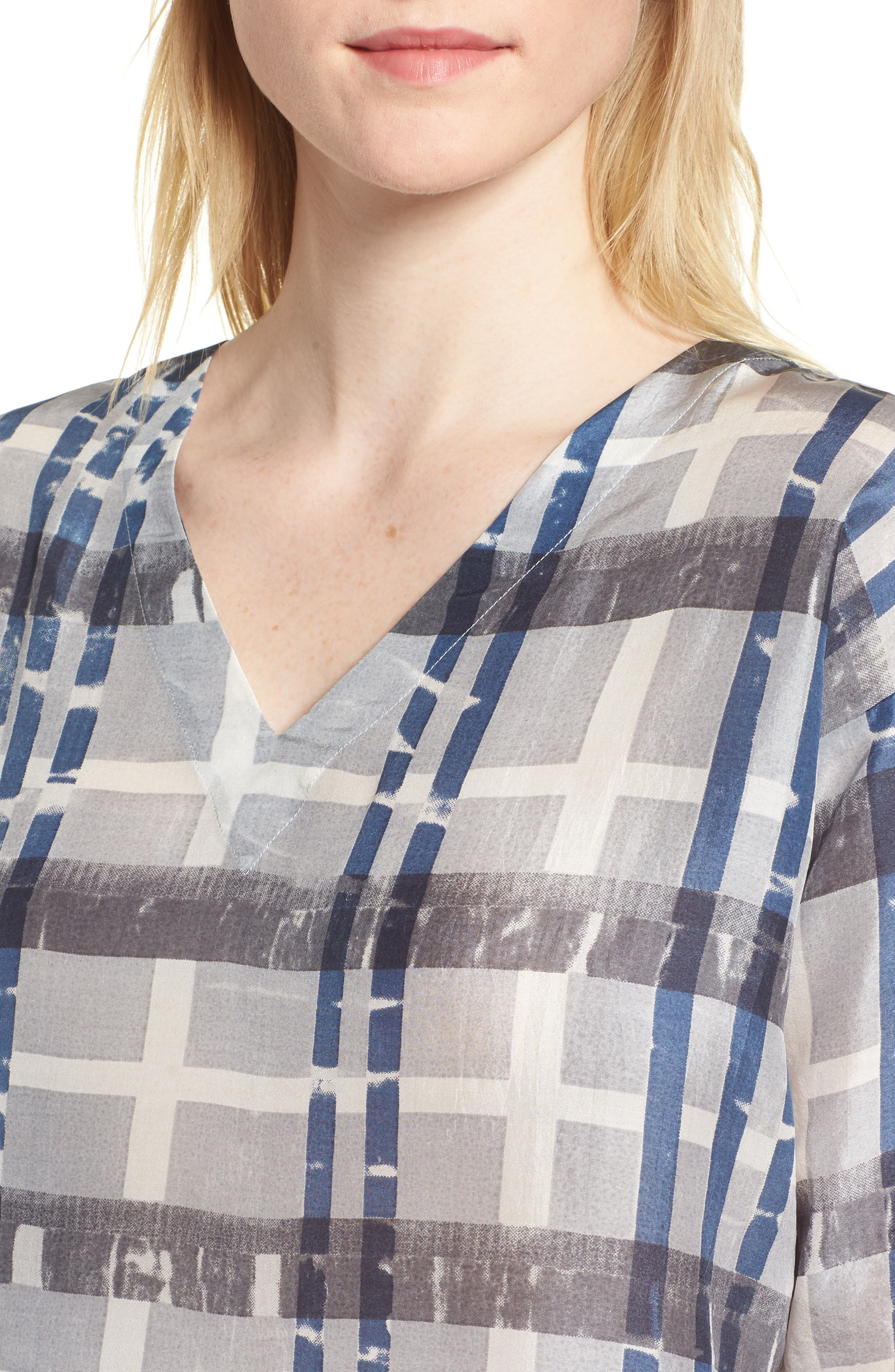 Plaid Boxy Silk Top,                             Alternate thumbnail 4, color,                             SILVER