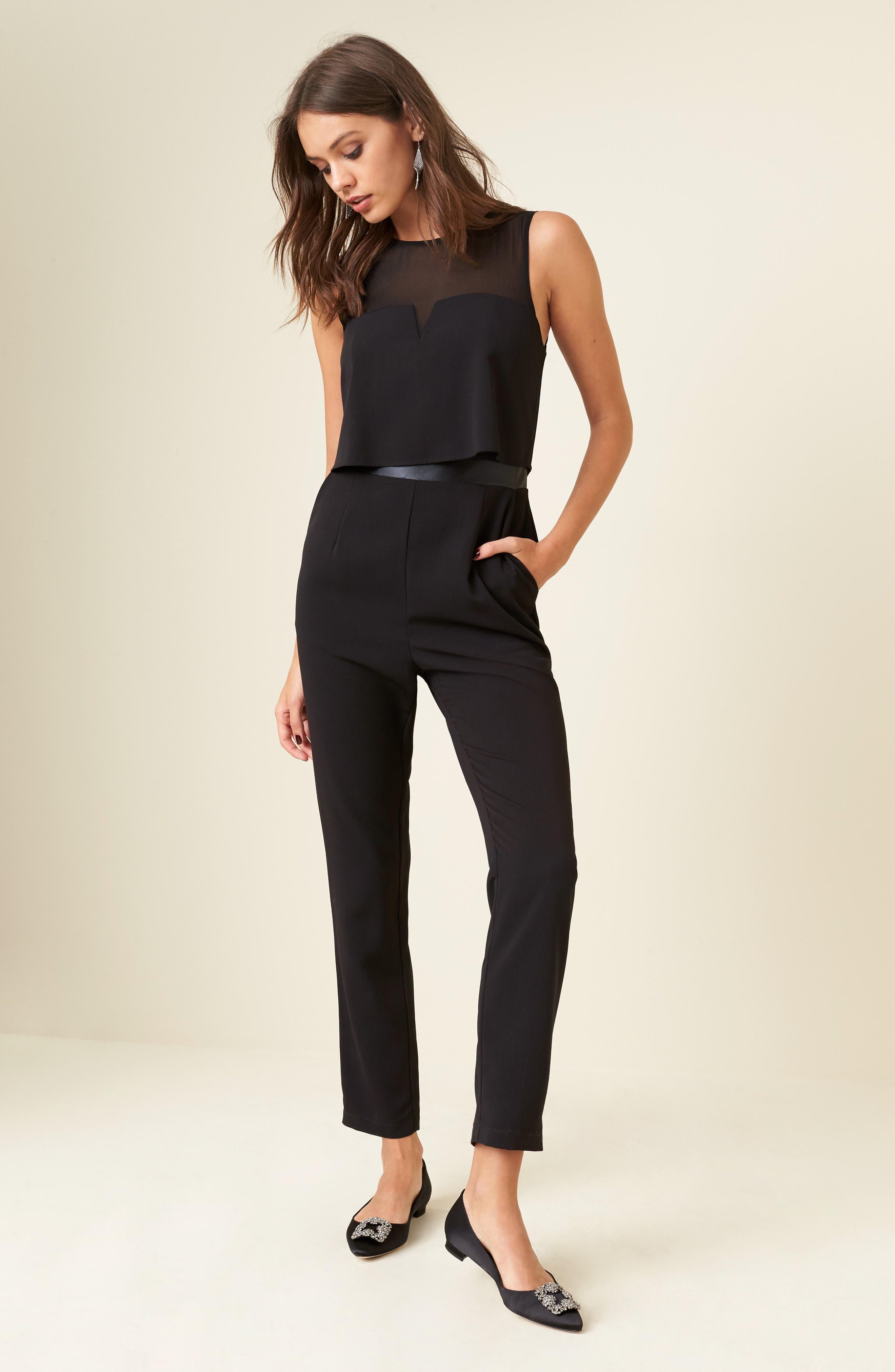 Popover Mixed Media Jumpsuit,                             Alternate thumbnail 6, color,                             001
