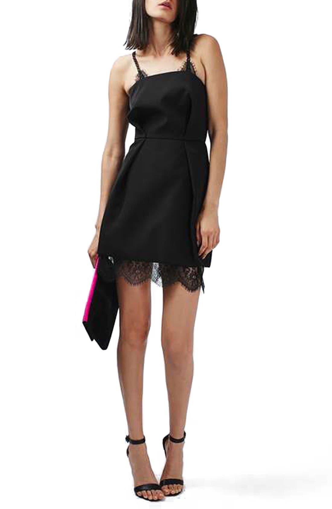 Lace Trim Minidress,                             Main thumbnail 1, color,                             001