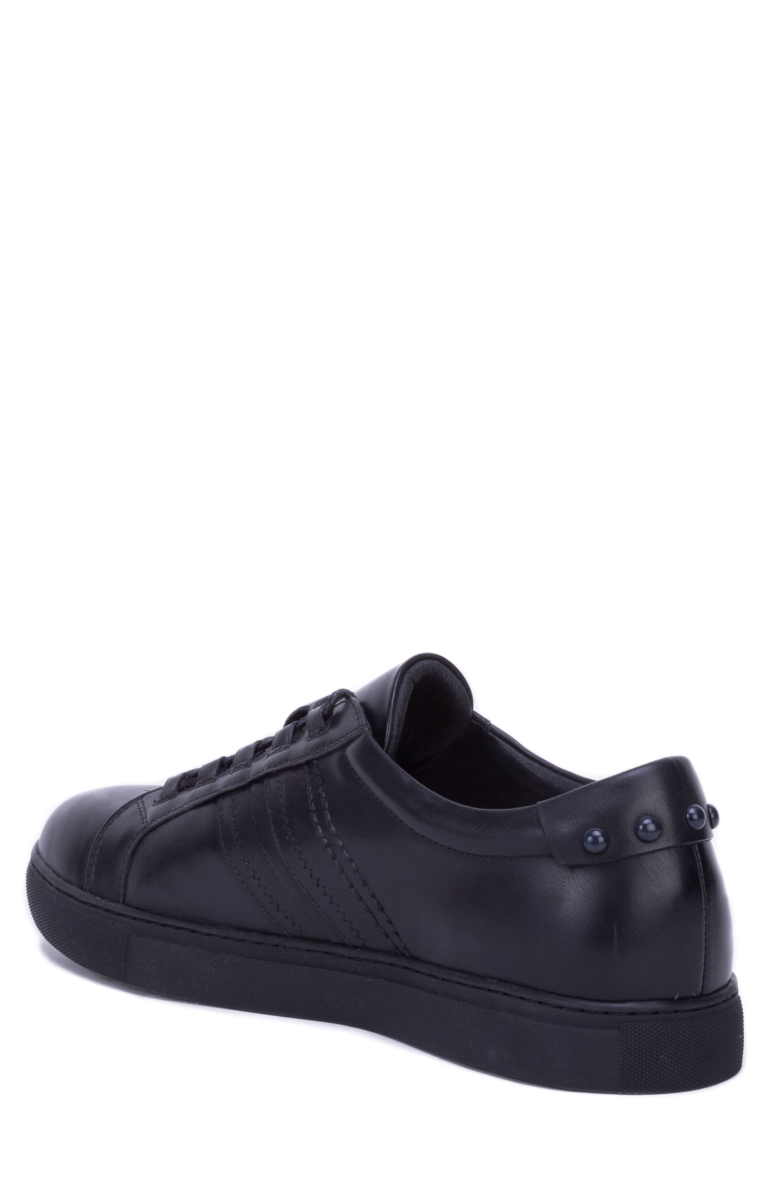 Horton Studded Low Top Sneaker,                             Alternate thumbnail 2, color,                             BLACK LEATHER