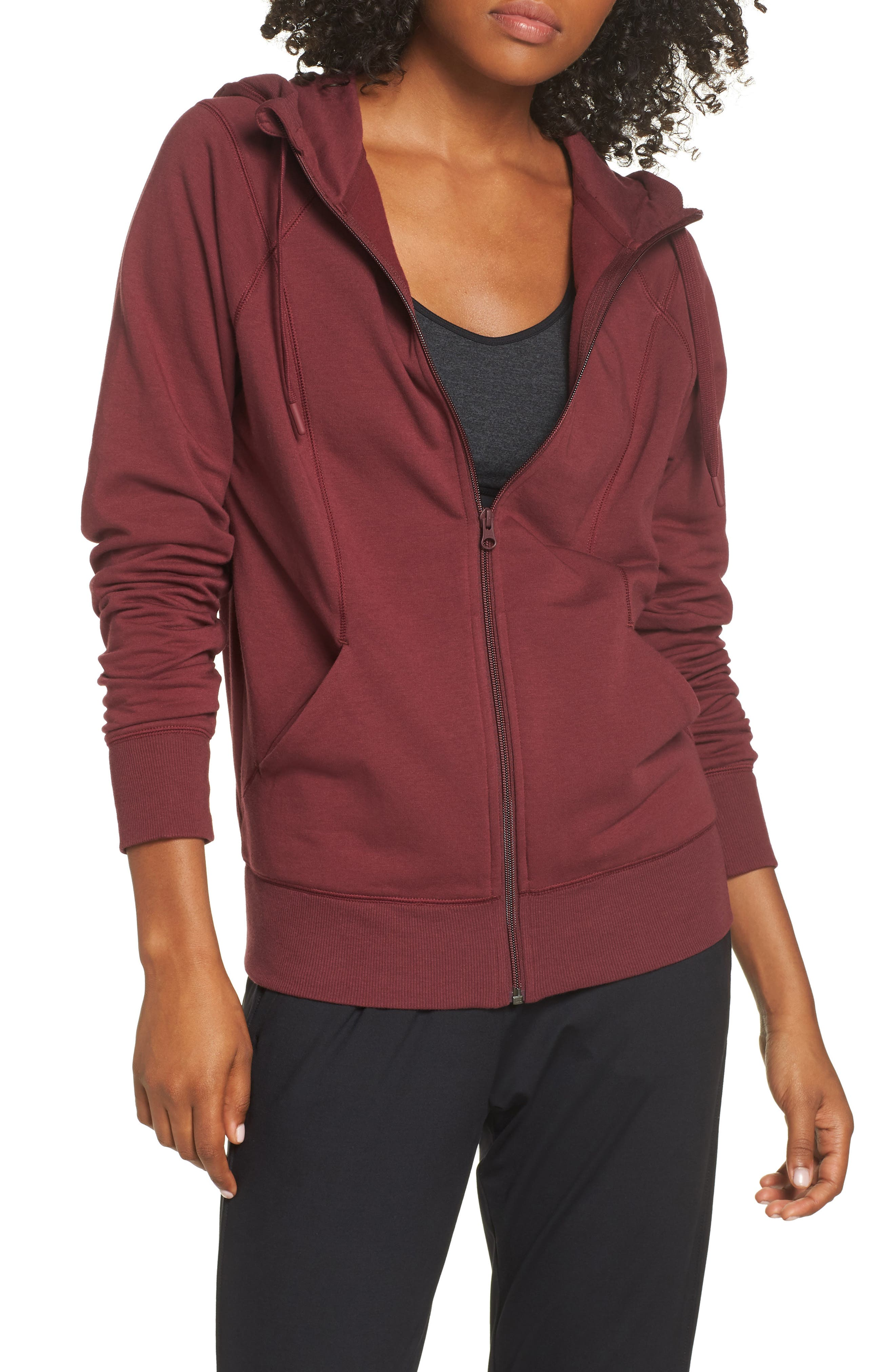 Outta Town Zip Hoodie,                         Main,                         color, RED TANNIN